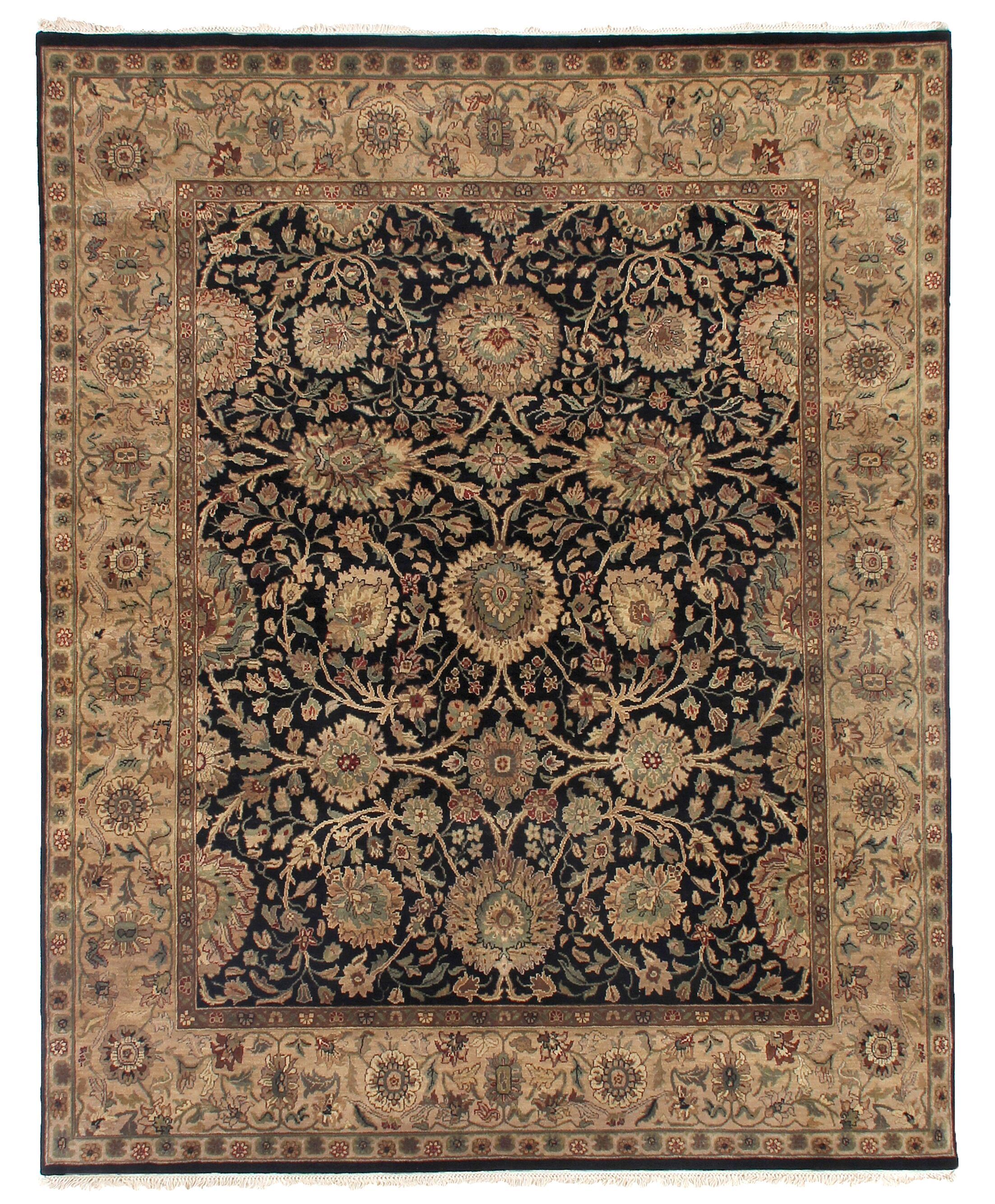 Moghul Hand-Knotted Wool Black/Beige Area Rug Rug Size: Rectangle 6' x 9'