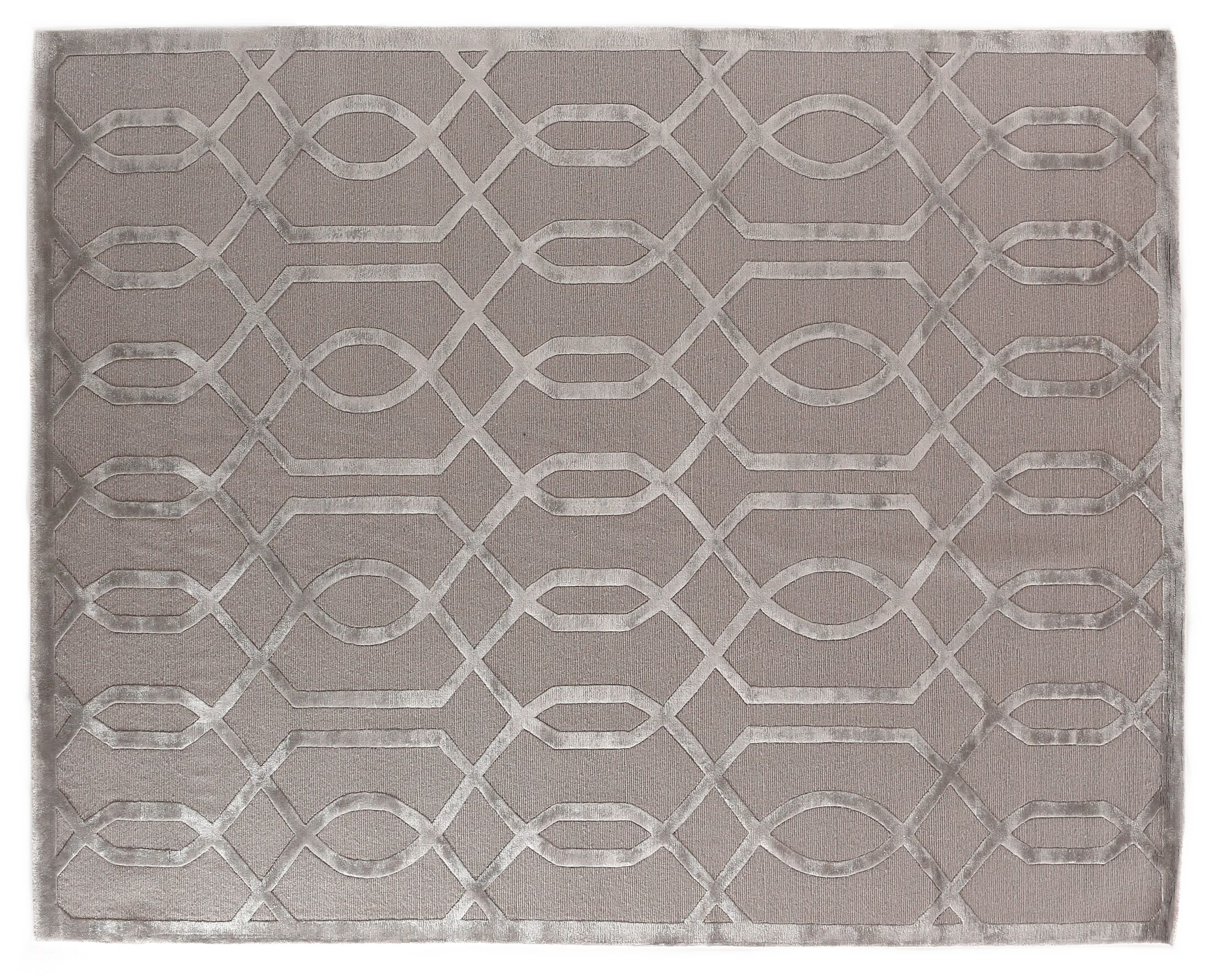 Hand-Knotted Wool/Silk Gray/Silver Area Rug Rug Size: Rectangle 9' x 12'