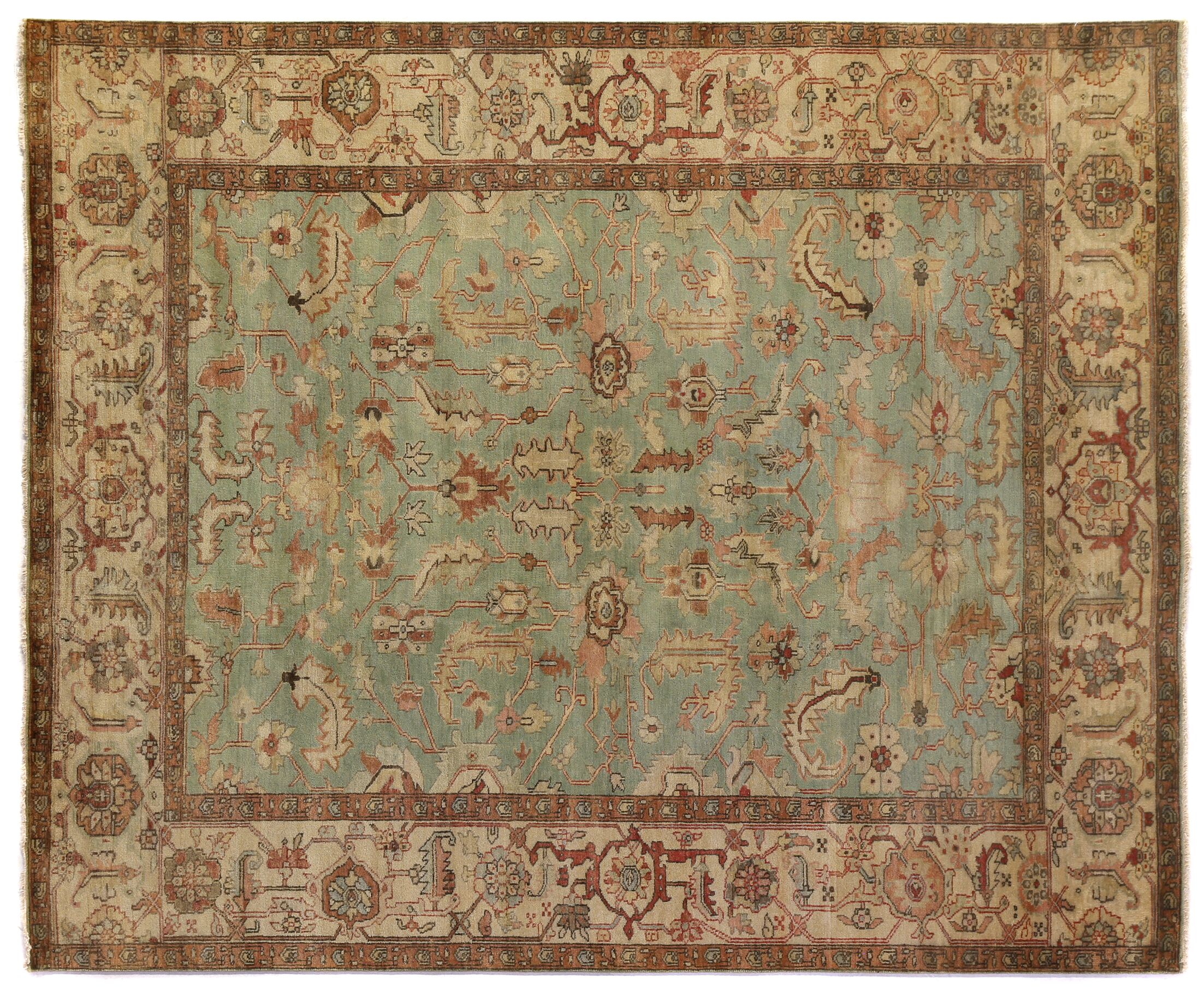 Serapi Hand-Knotted Wool Light Blue/Ivory Area Rug Rug Size: Rectangle 4' x 6'