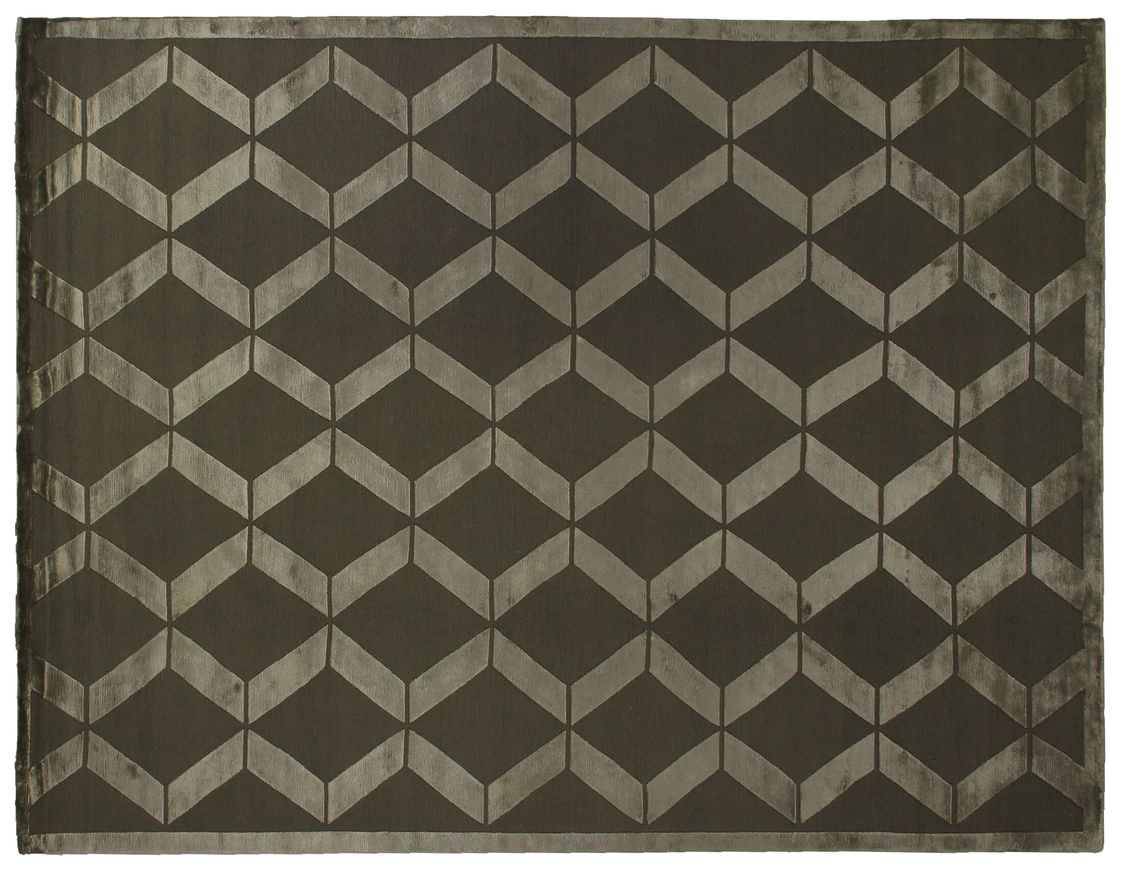 Hand-Knotted Wool/Silk Khaki/Beige Area Rug Rug Size: Rectangle 10' x 14'