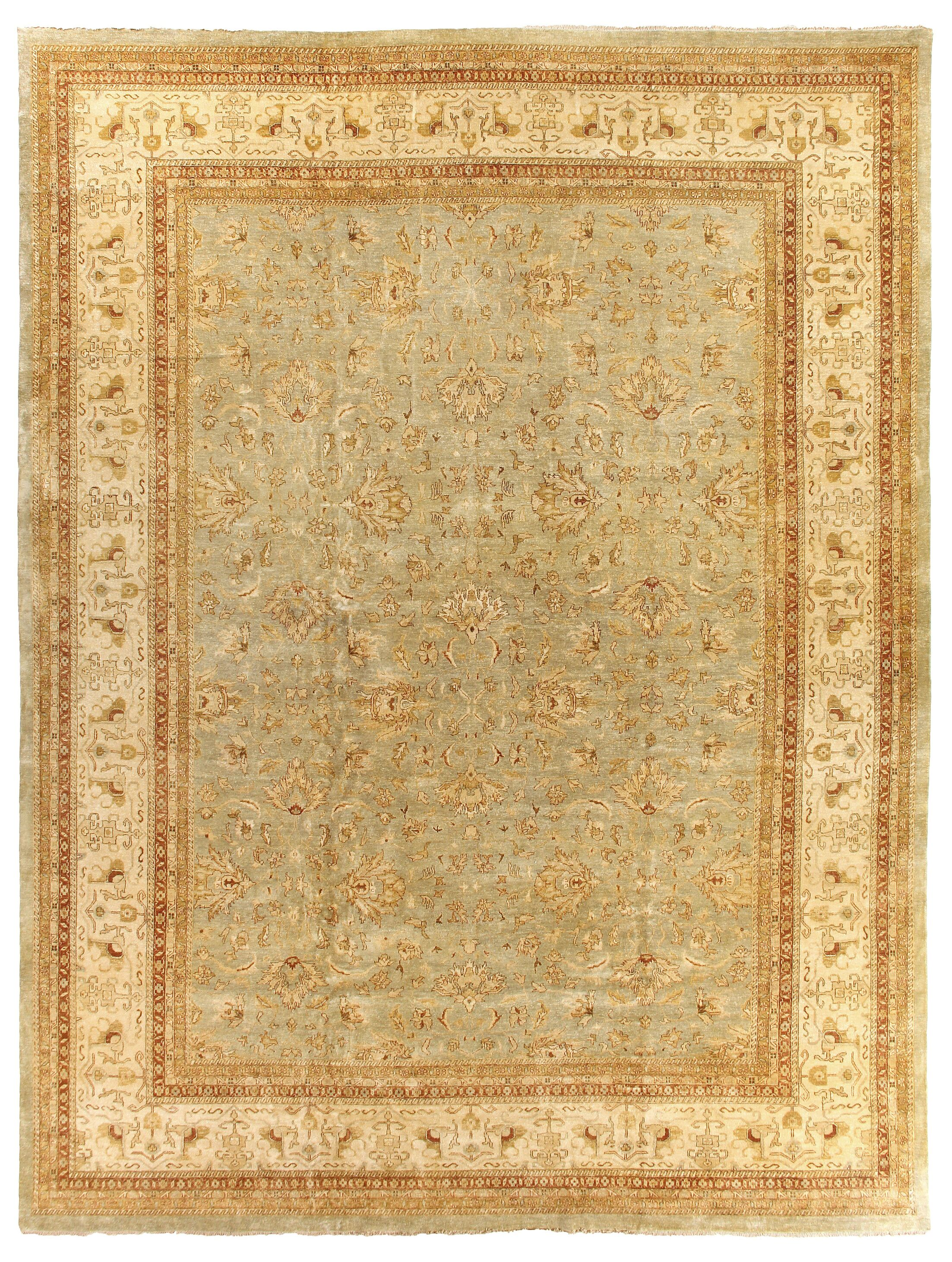 Ziegler Hand Knotted Wool Blue/Beige Area Rug Rug Size: Rectangle 15' x 20'