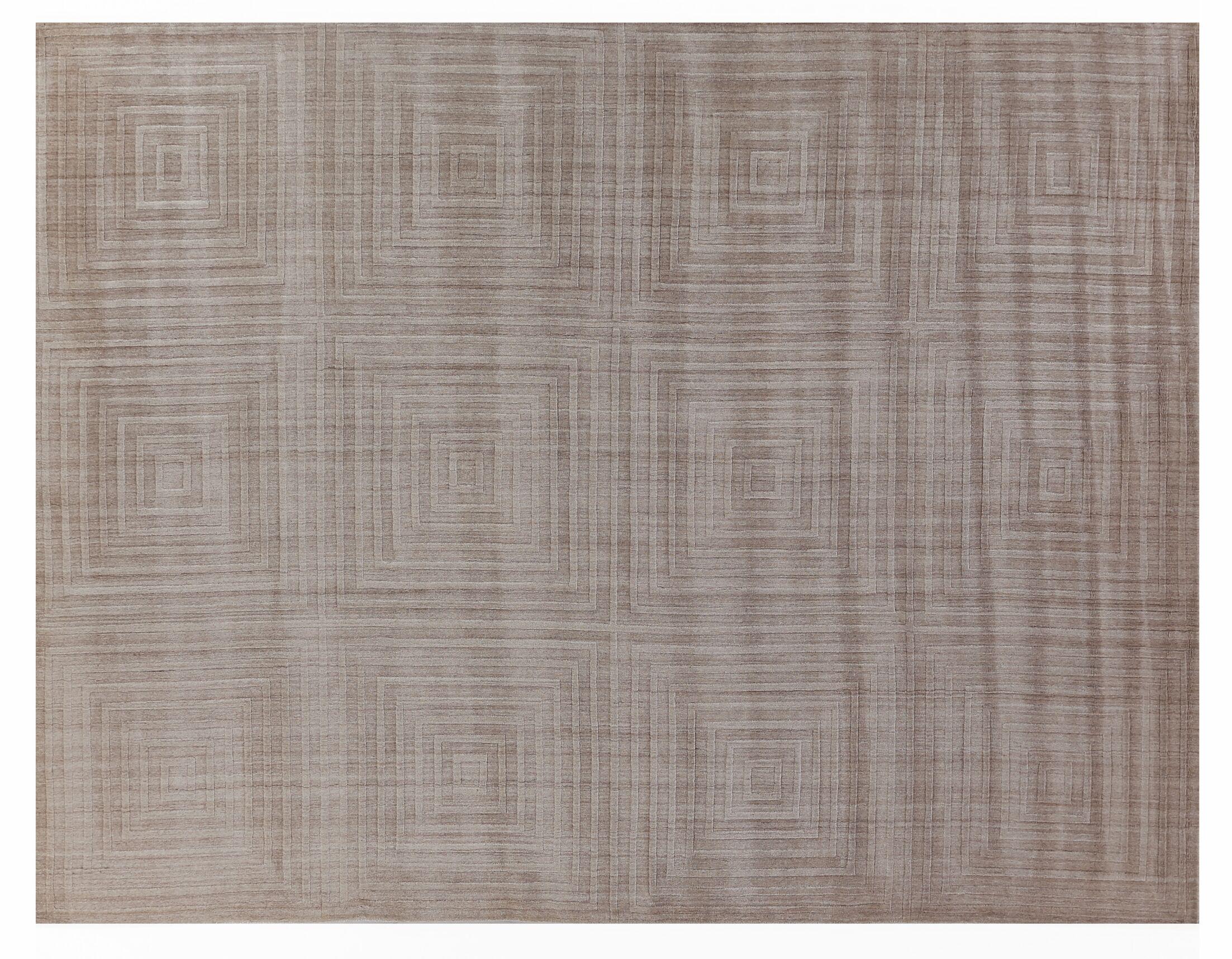 Robin Hand-Loomed Wool/Silk Beige Area Rug Rug Size: Rectangle9' x 12'