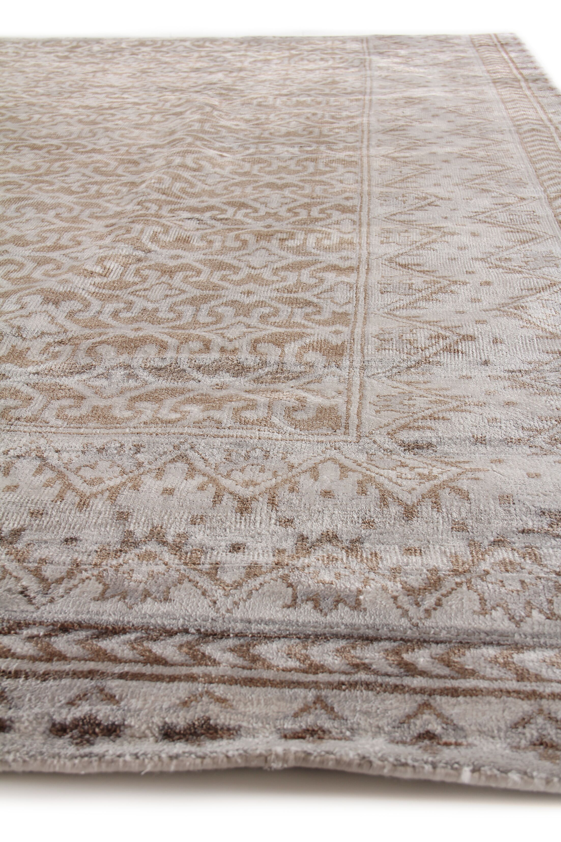 Antique Weave Hand-Knotted Silk Brown/Silver Area Rug Rug Size: Rectangle 9' x 12'