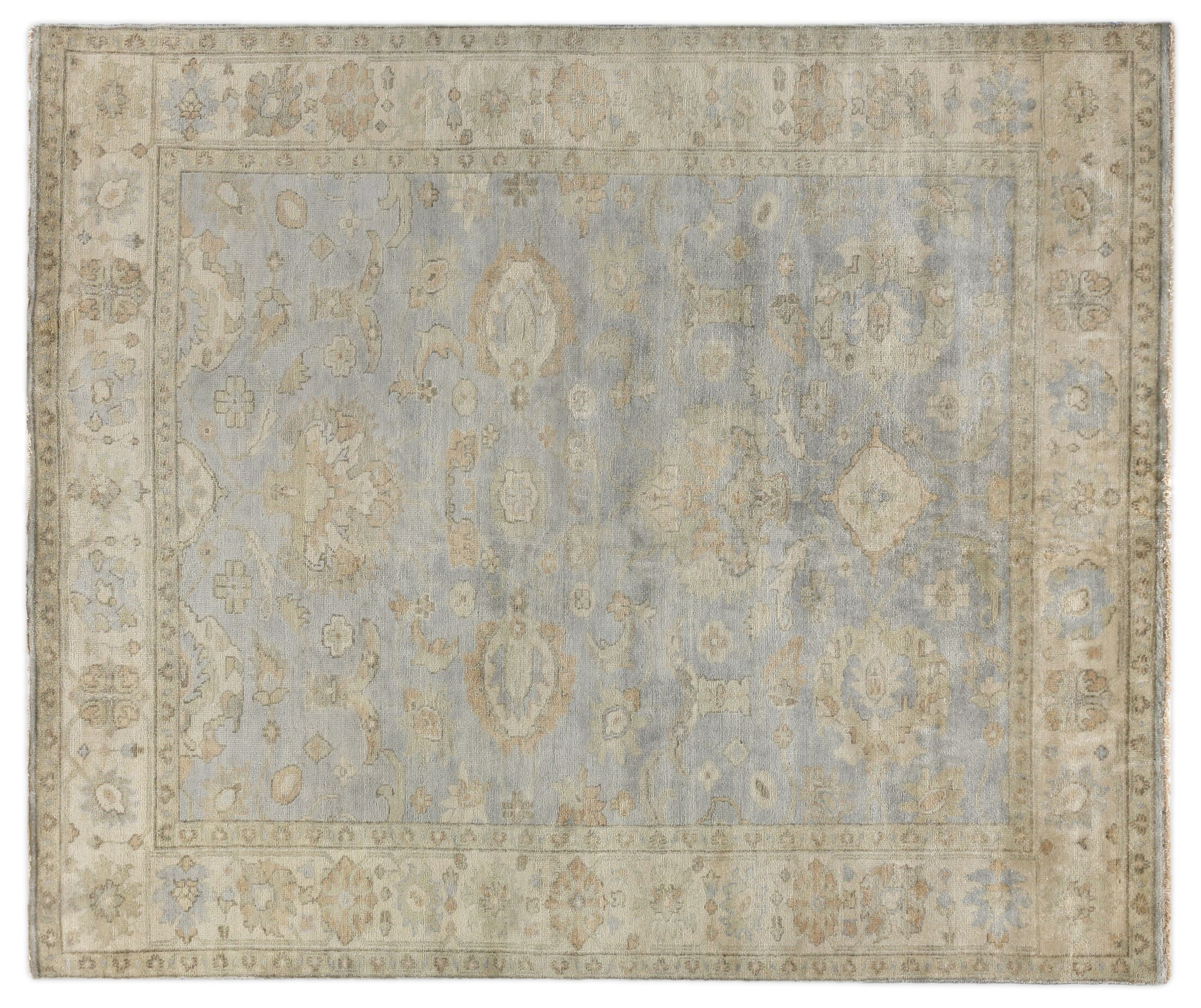 Oushak Hand-Knotted Wool Gray/Ivory Area Rug Rug Size: Rectangle 8' x 10'