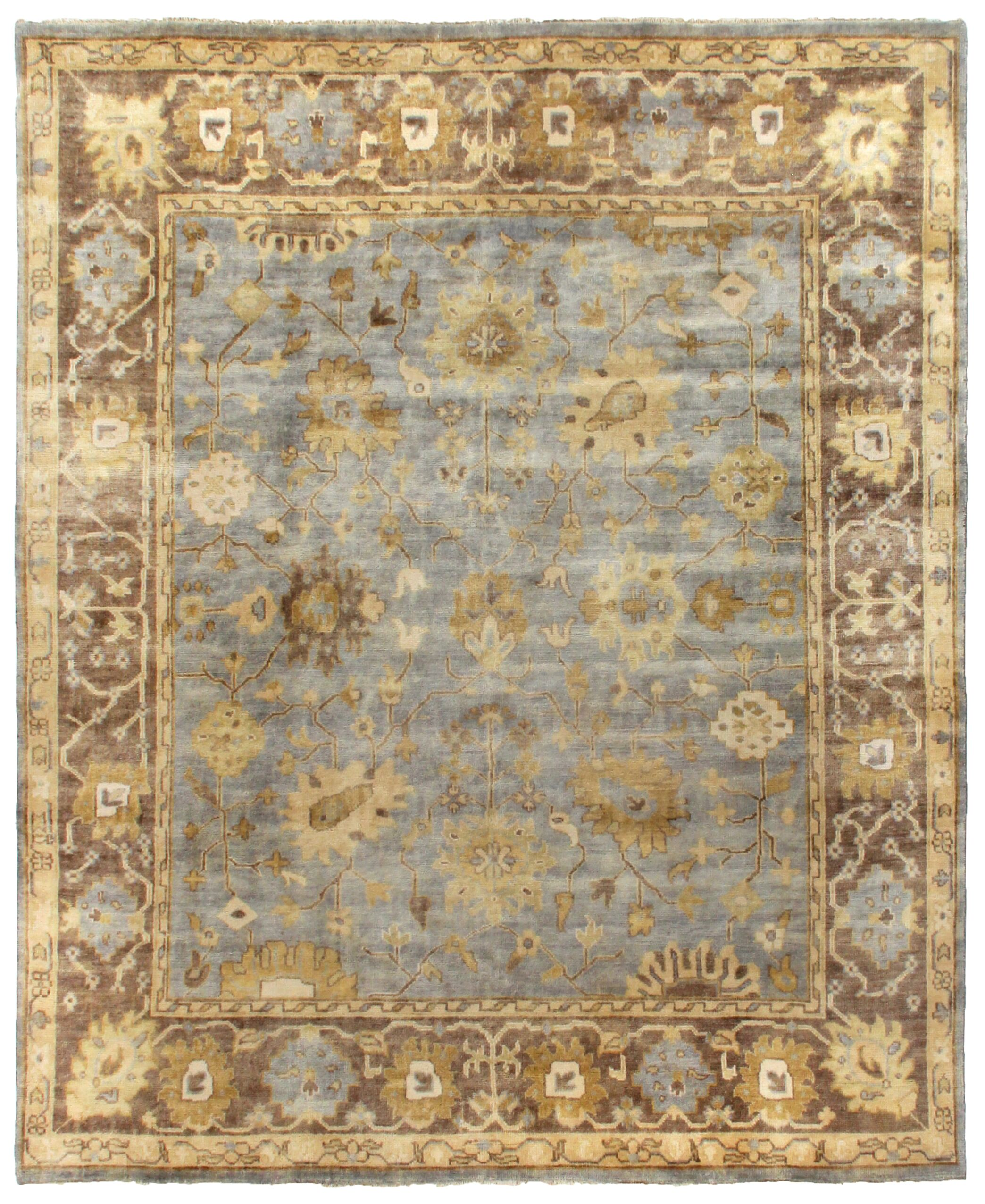 Oushak Hand-Knotted Wool Gray/Brown Area Rug Rug Size: Rectangle 8' x 10'