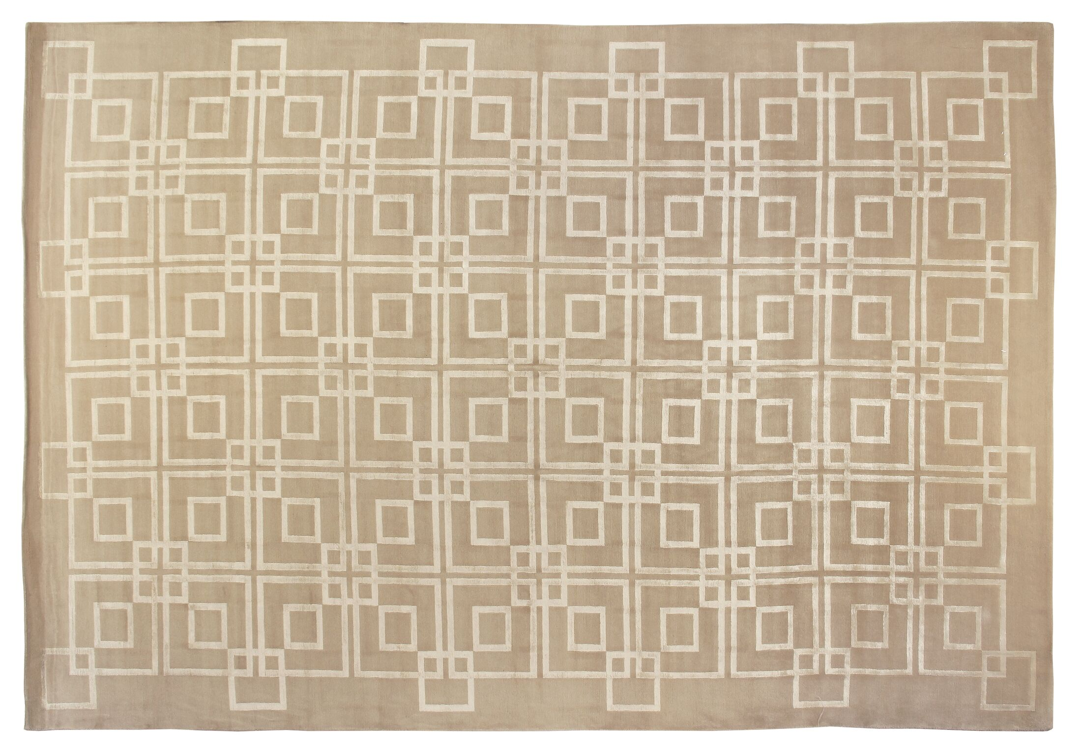Super Tibetan Hand-Knotted Beige Area Rug