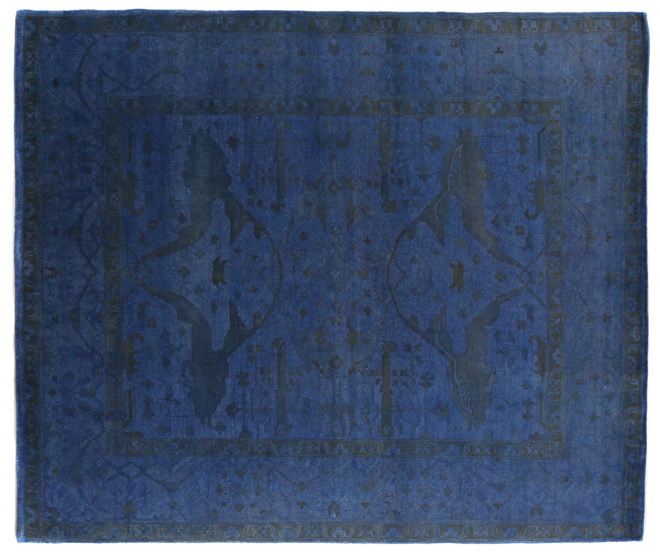 Overdyed Hand-Woven Wool Blue/Black Area Rug Rug Size: Rectangle 6' x 9'