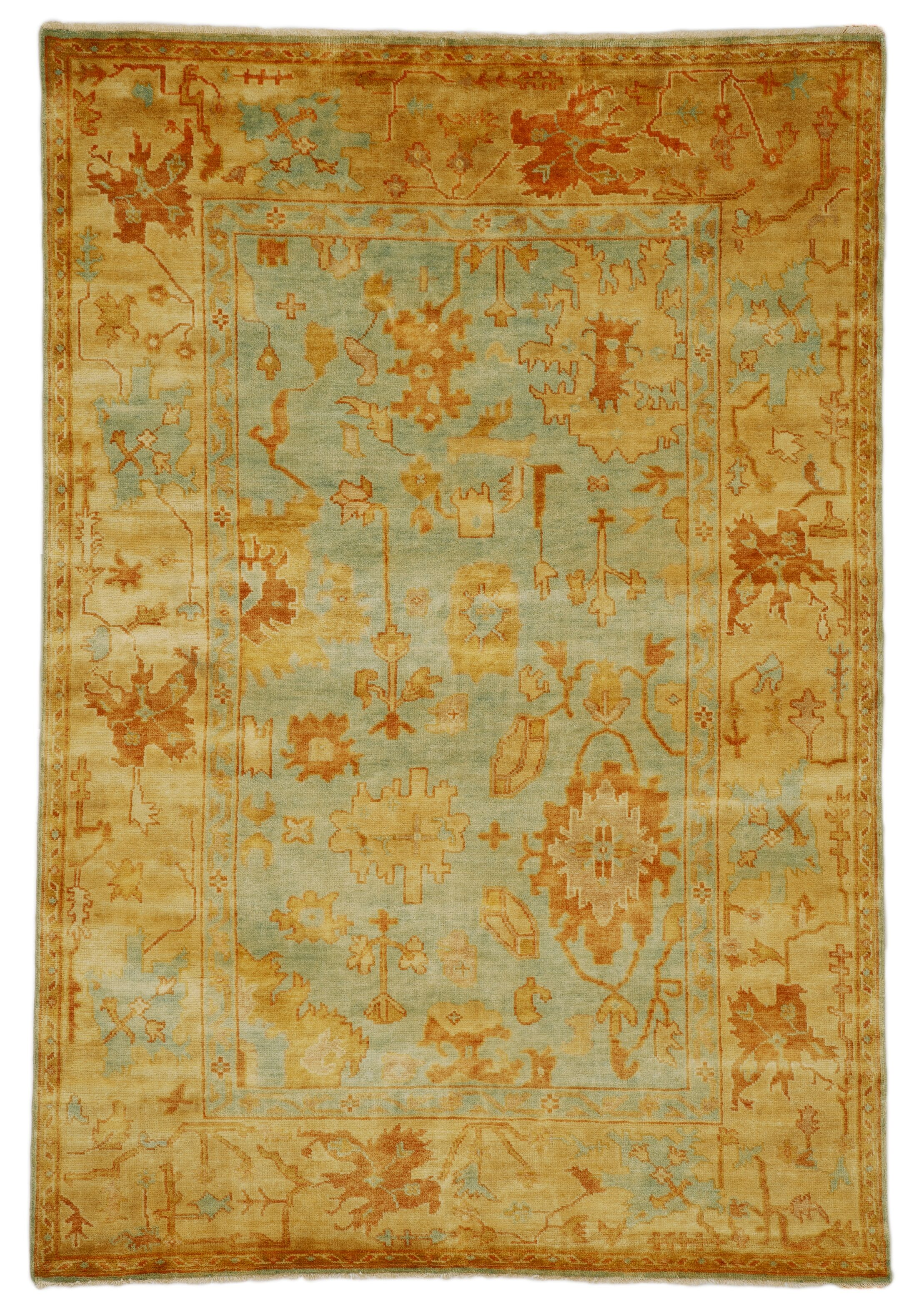 Oushak Hand-Knotted Wool Dark Blue/Beige Area Rug Rug Size: 8' x 10'