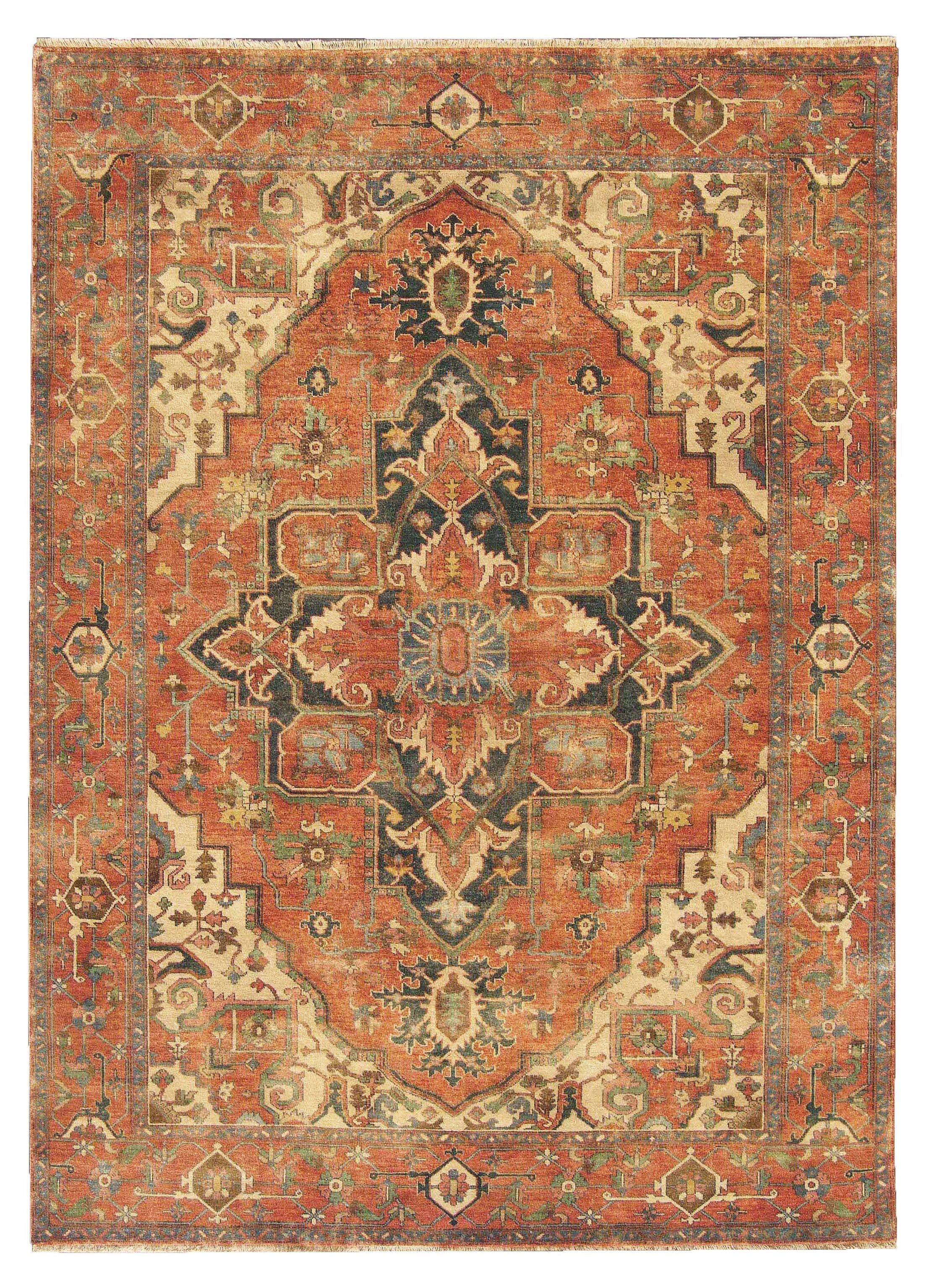 Serapi Hand-Knotted Wool Orange/Beige Area Rug Rug Size: 6' x 9'