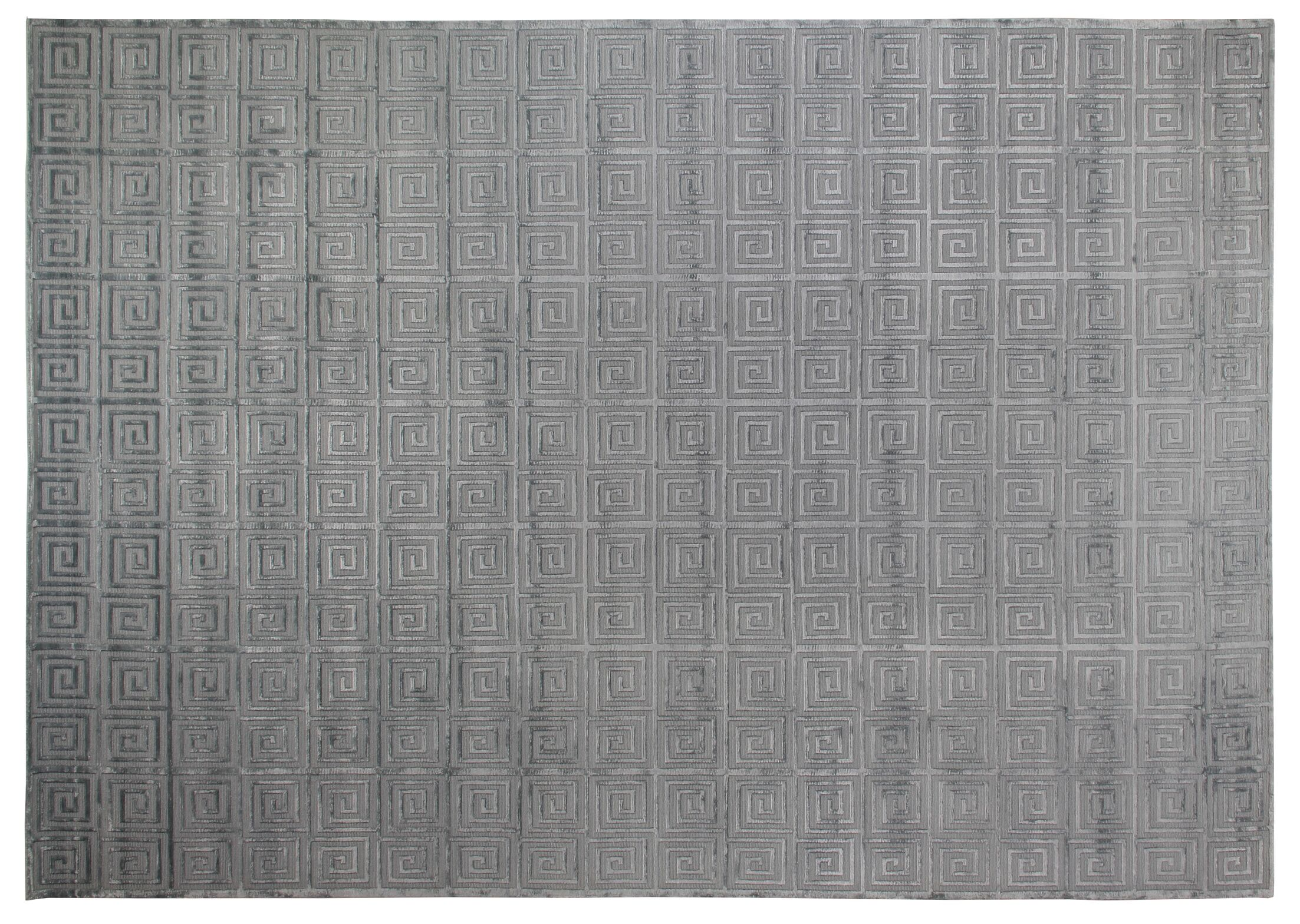 Greek Key Greco Hand-Knotted Wool Aqua Area Rug Rug Size: 8' x 10'