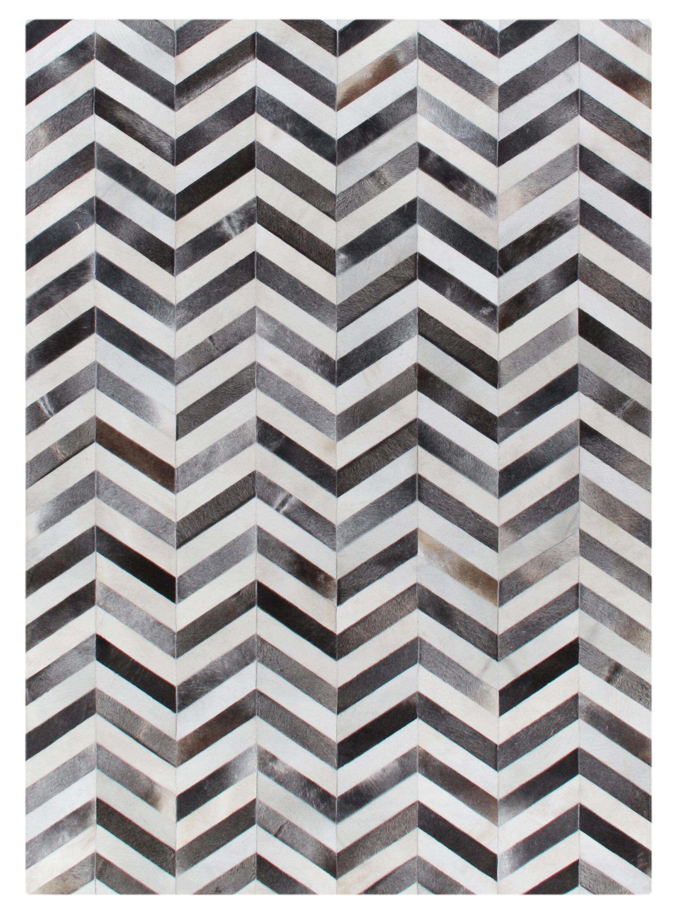 Natural Hide Hand-Woven Cowhide White/Gray Area Rug Rug Size: 9'6
