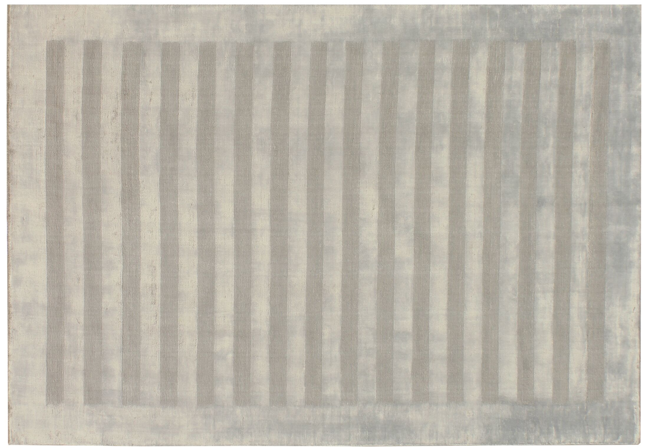 Wide Stripe Panel Hand-Woven Silver Area Rug Rug Size: 6' x 9'