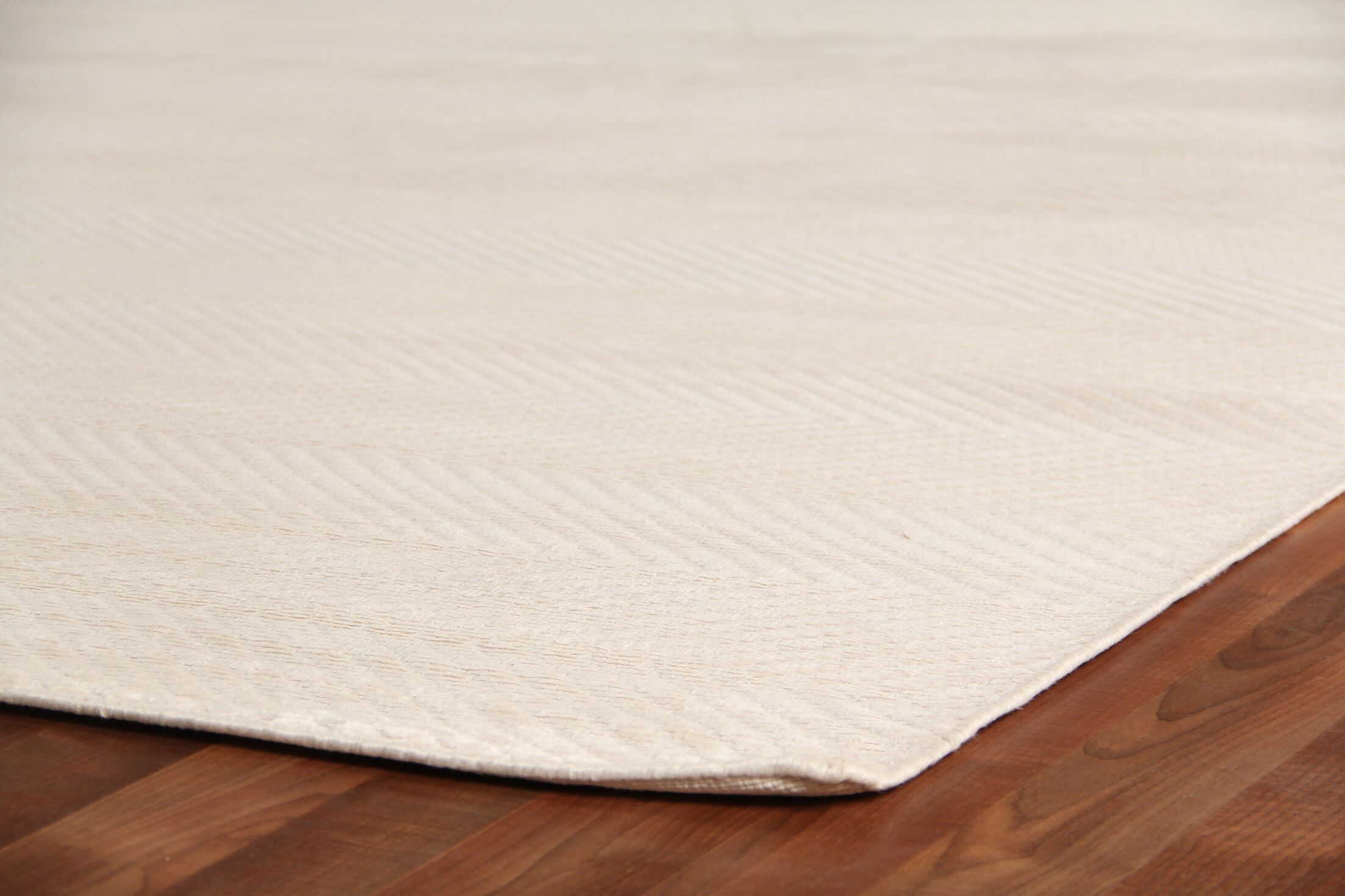Herringbone Hand-Woven Silk White Area Rug Rug Size: Rectangle 5' x 8'
