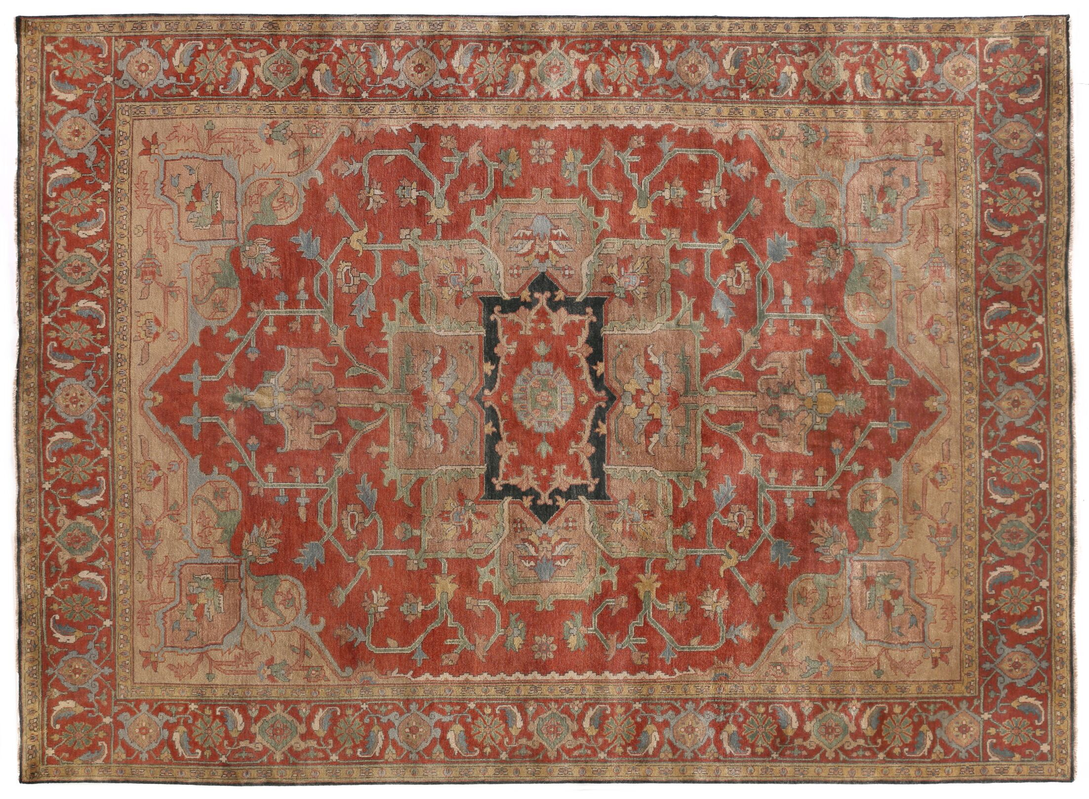 Serapi Hand-Knotted Wool Red Area Rug Rug Size: 4' x 6'
