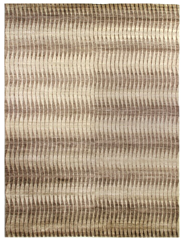 Hand-Knotted Beige/Brown Area Rug Rug Size: Rectangle 12' x 15'