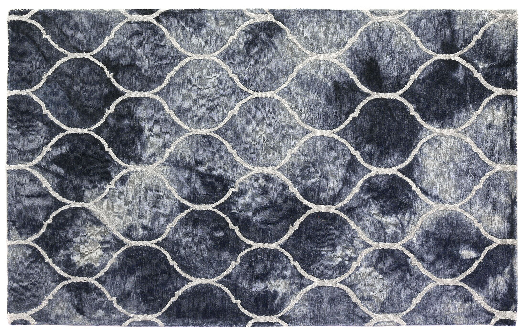 Dip-Dye Hand-Tufted Wool Blue Area Rug Rug Size: 5' x 8'