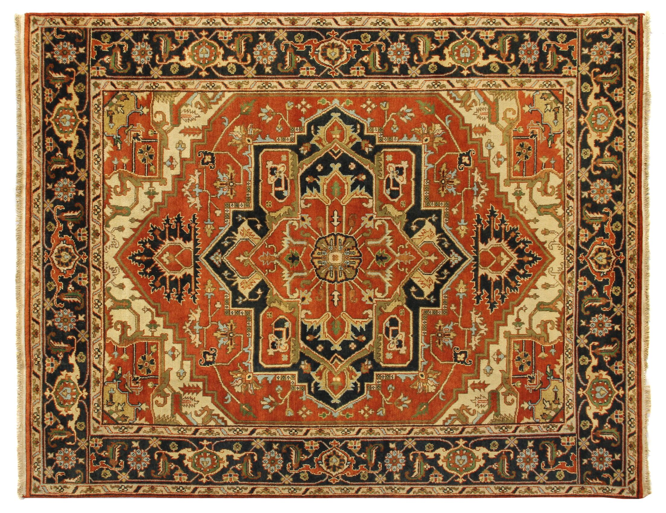 Serapi Hand-Knotted Wool Rust/Black Area Rug Rug Size: 8' x 10'
