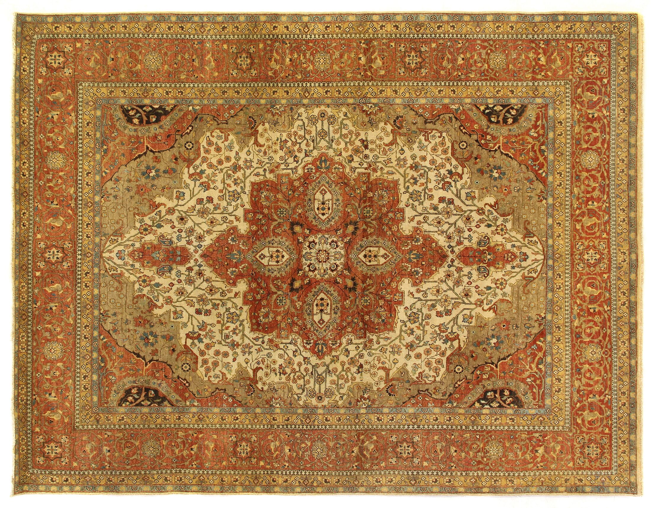 Fine Serapi Hand-Knotted Wool Ivory/Rust Area Rug Rug Size: Rectangle 12' x 15'