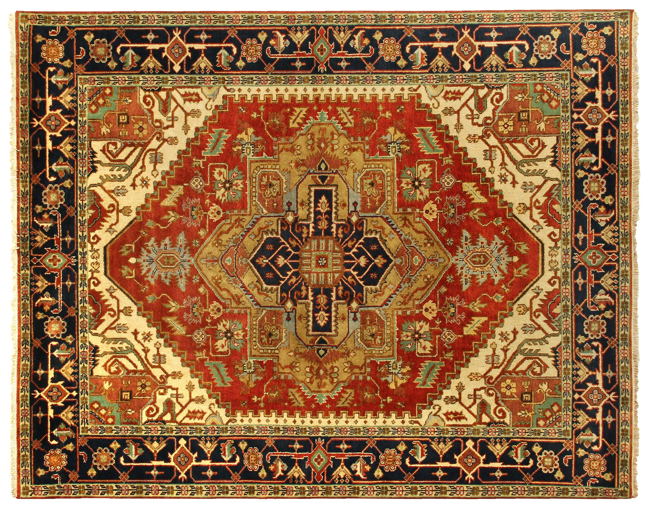 Serapi Hand-Knotted Wool Rust/Navy Area Rug Rug Size: Rectangle 8' x 10'