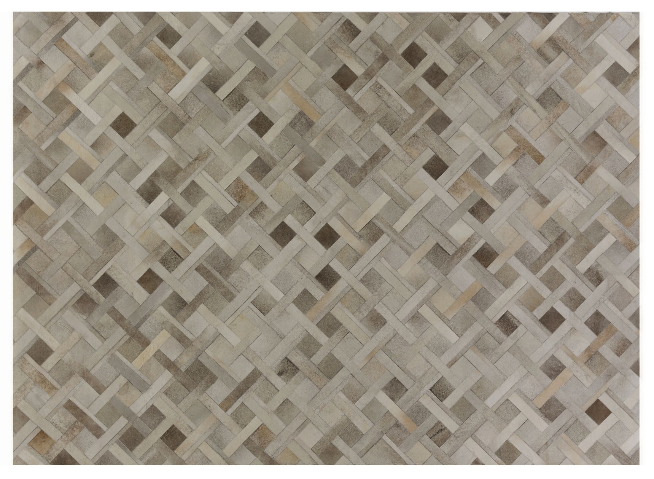 Natural Hide Hand-Tufted Cowhide Silver/Ivory Area Rug Rug Size: Rectangle 5' x 8'