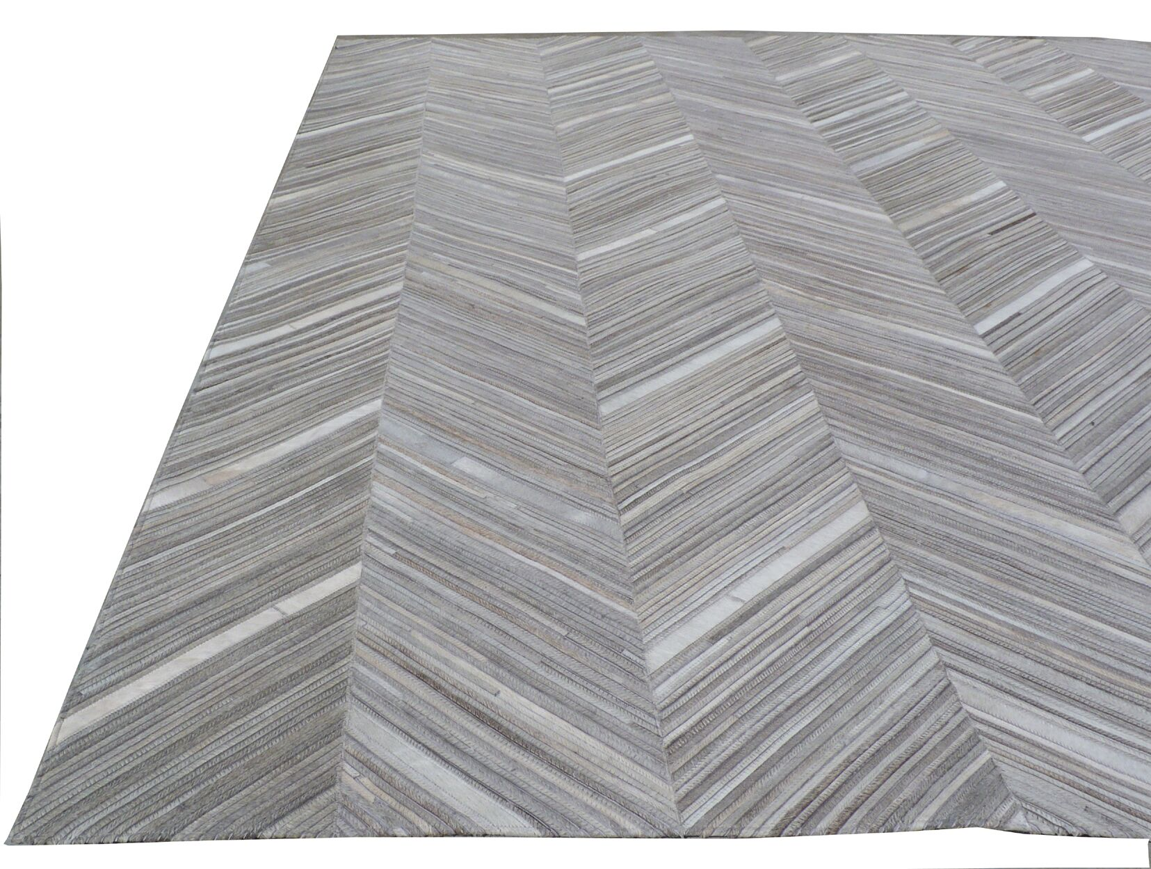 Natural Hide Leather Hand-Woven Gray Area Rug Rug Size: Rectangle 5' x 8'