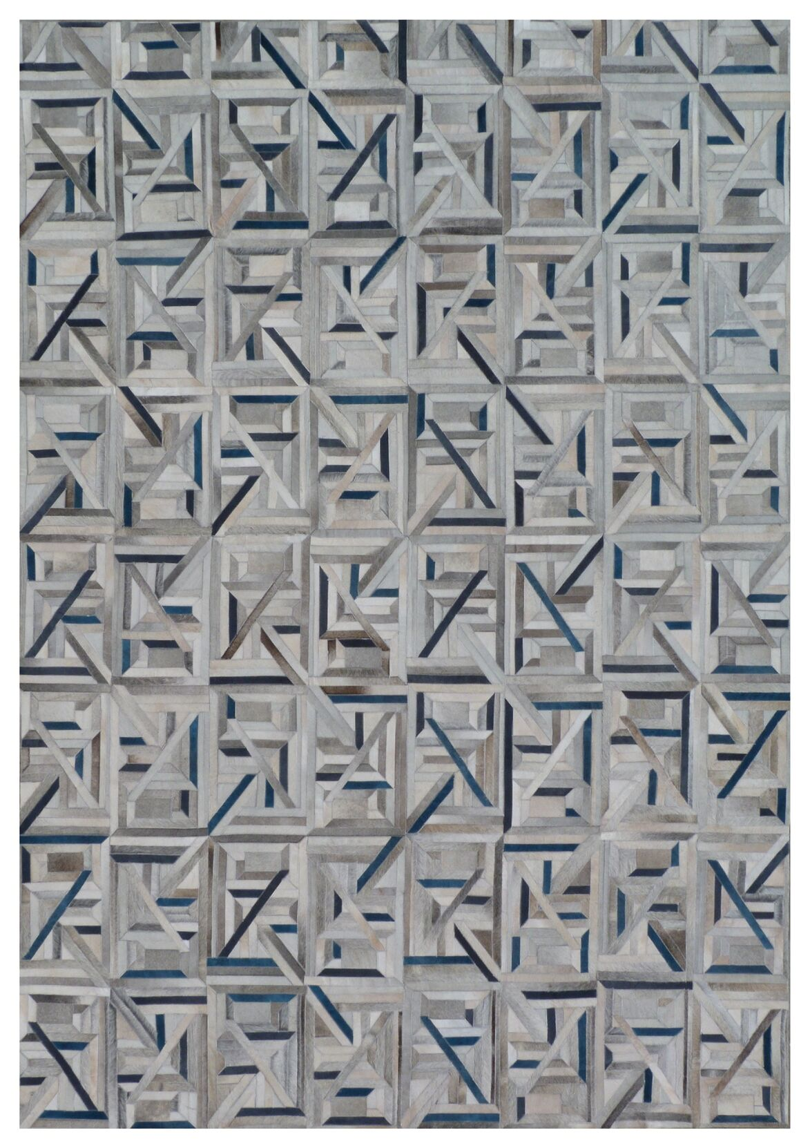 Natural Hide Hand Woven Cowhide Gray/Blue Area Rug Rug Size: Rectangle 5' x 8'