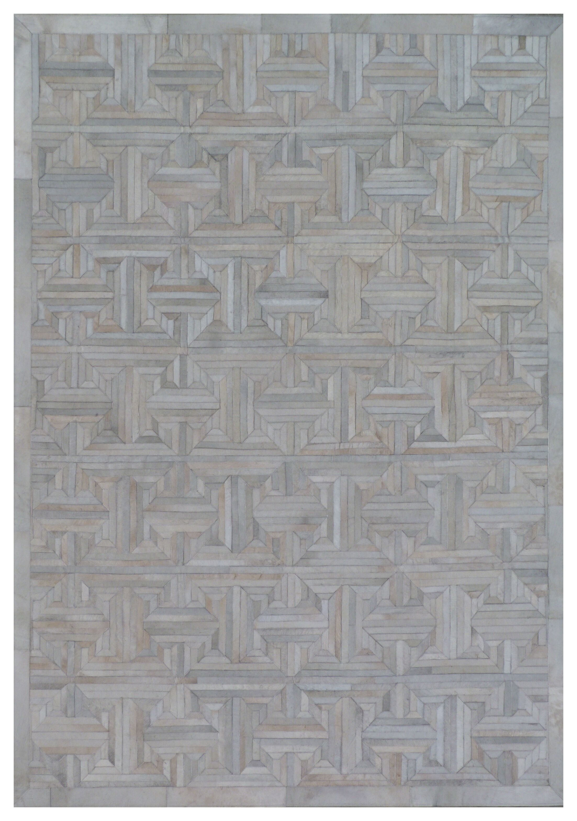 Natural Hide Leather Hand-Woven Gray Area Rug Rug Size: Rectangle 9'6