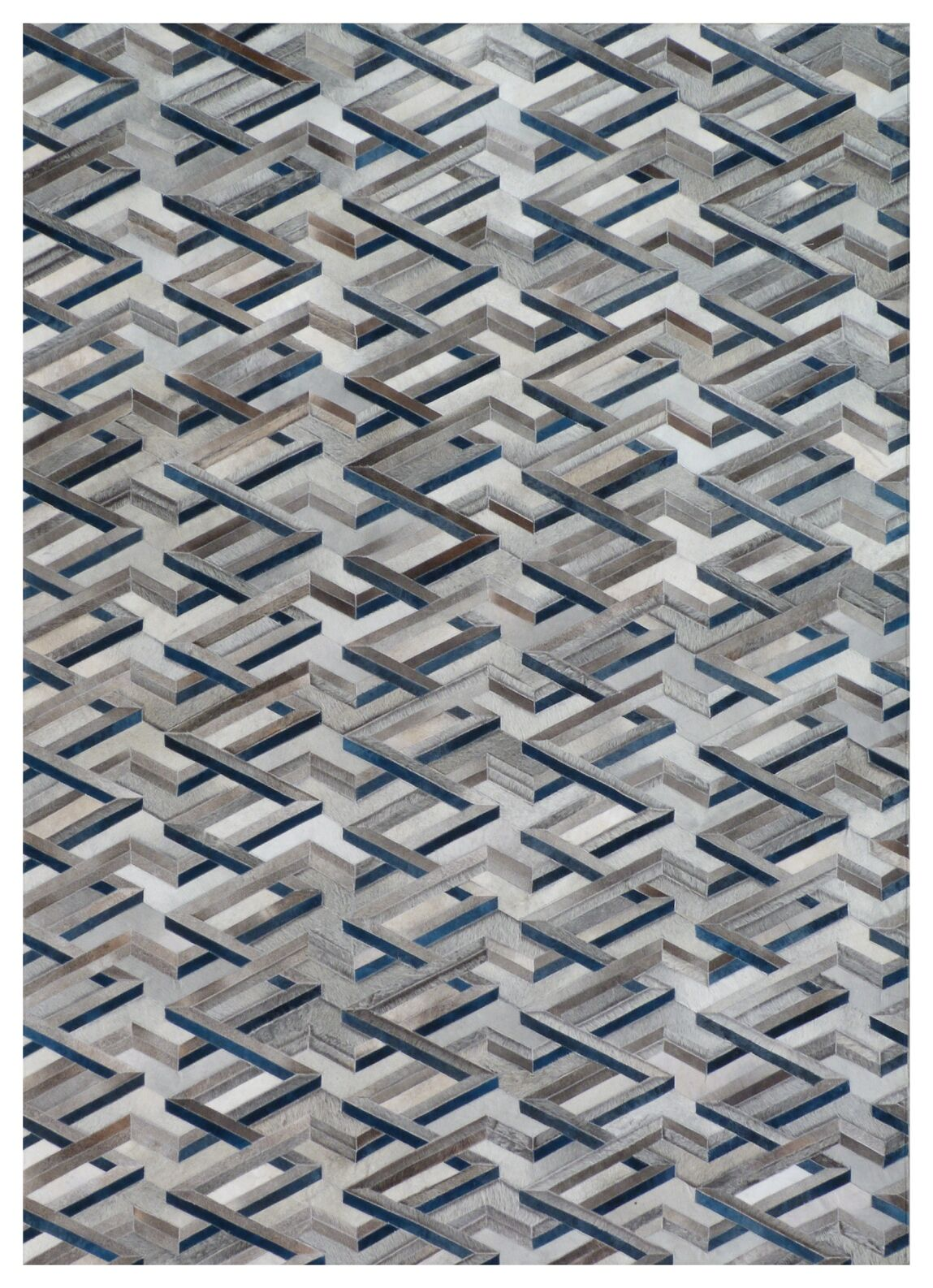 Natural Hide Hand-Tufted Cowhide Ivory/Silver/Blue Area Rug