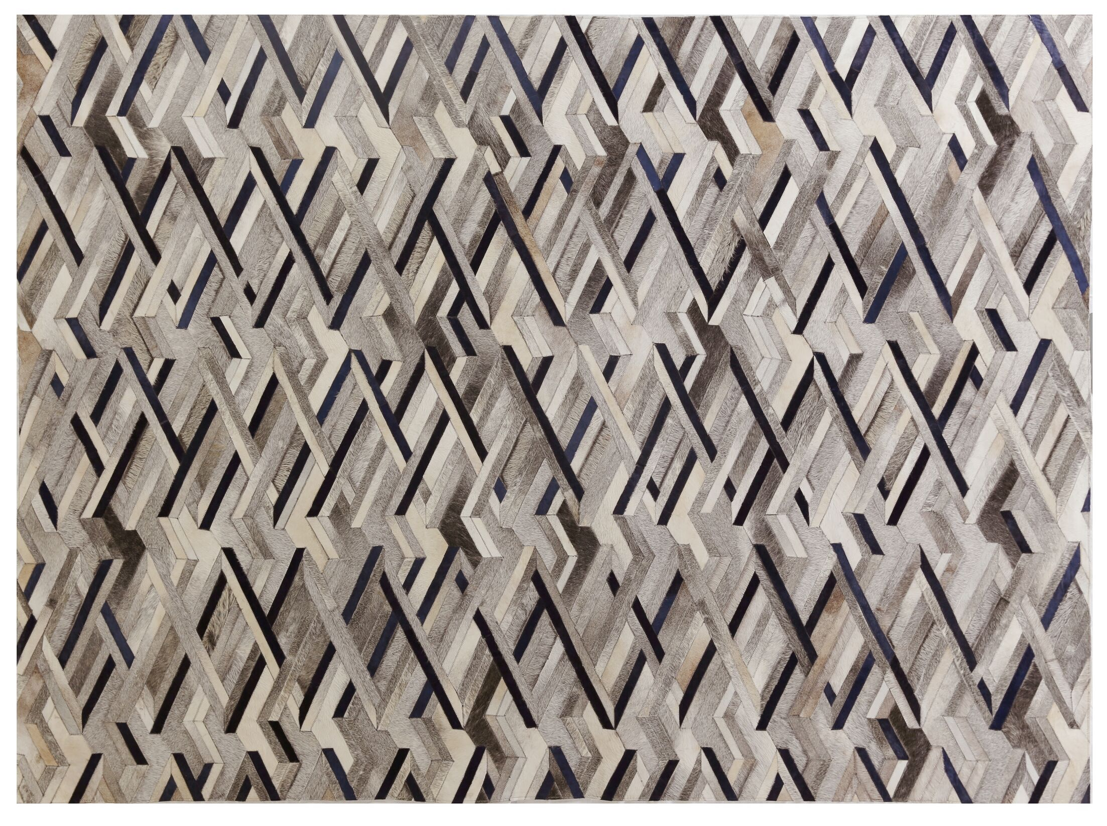 Natural Hide Hand-Tufted Cowhide Ivory/Gray/Blue Area Rug