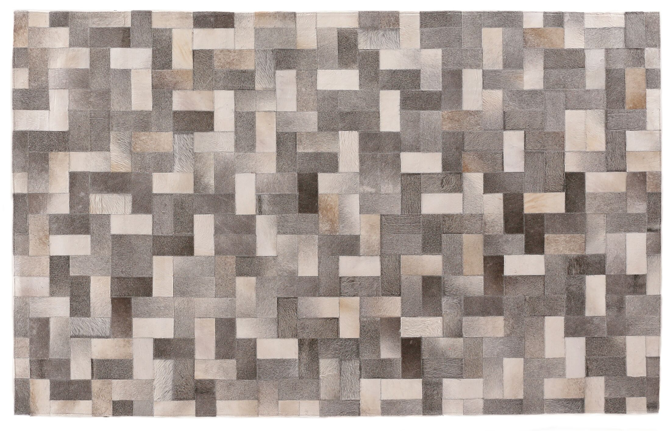 Natural Hide Hand-Tufted Cowhide Silver/Gray/Ivory Area Rug Rug Size: 11'6