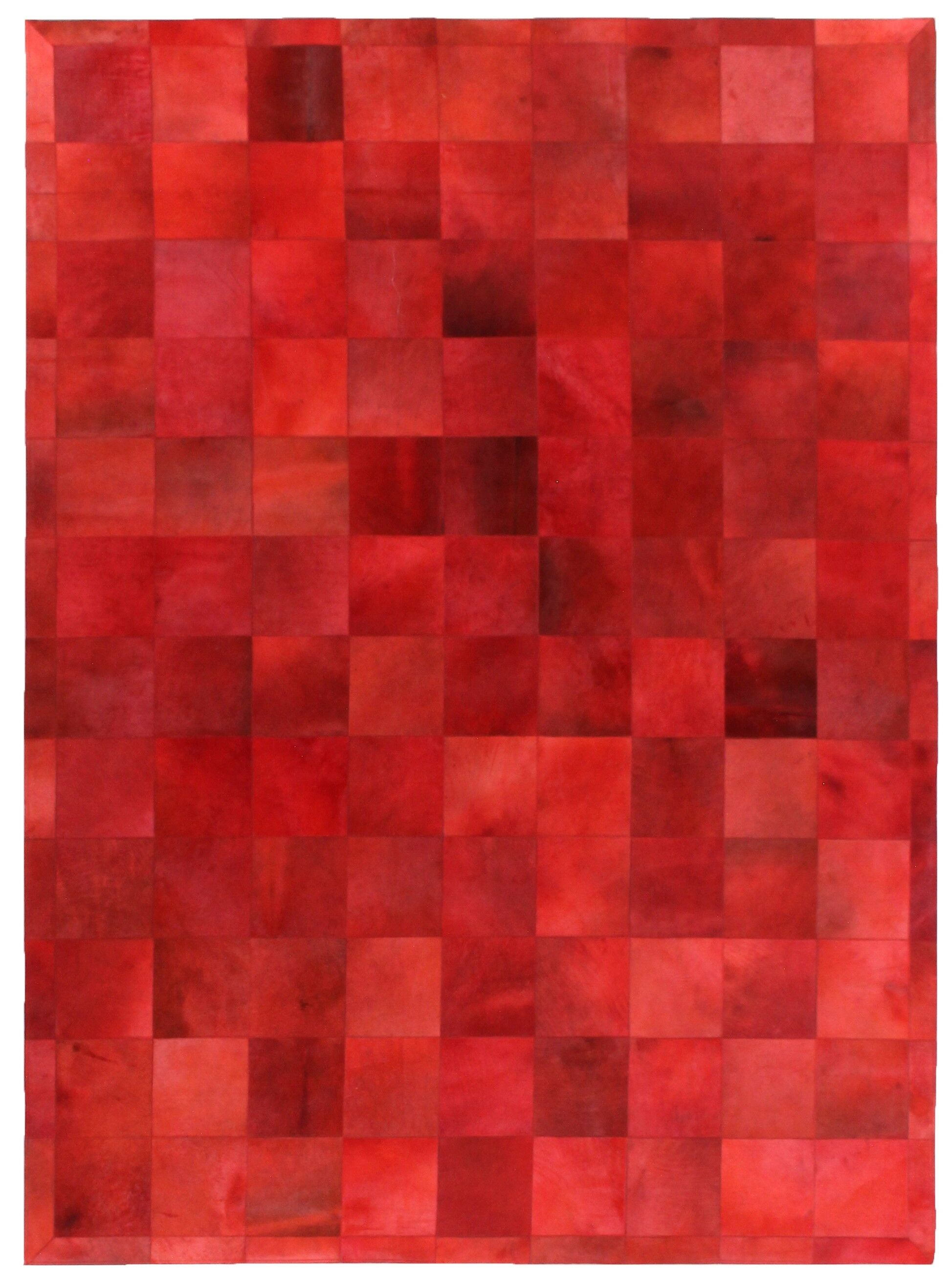Natural Hide Hand-Tufted Cowhide Red Area Rug Rug Size: 9'6