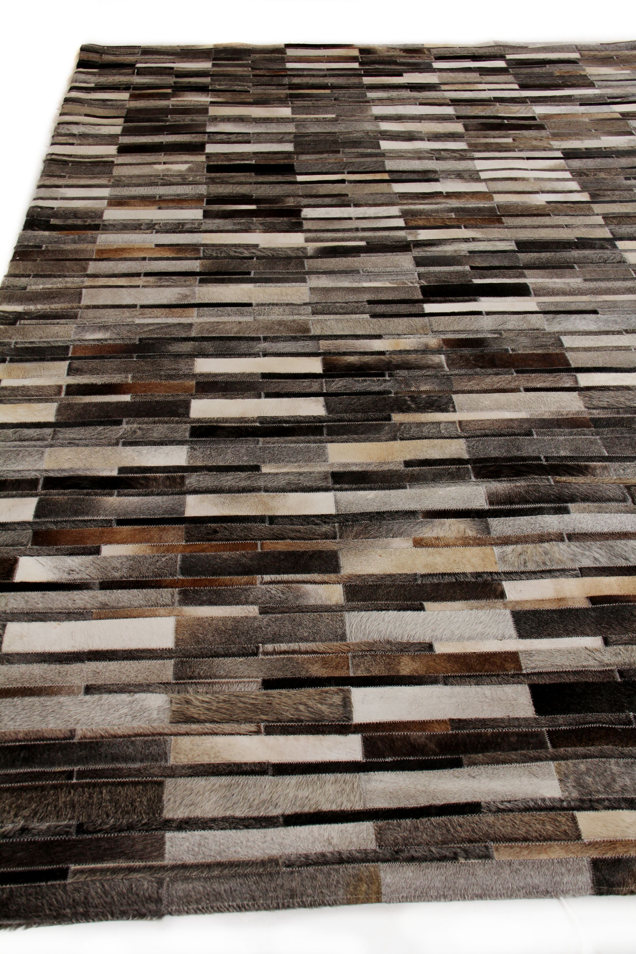 Natural Hide Leather Hand-Woven Dark Gray Area Rug