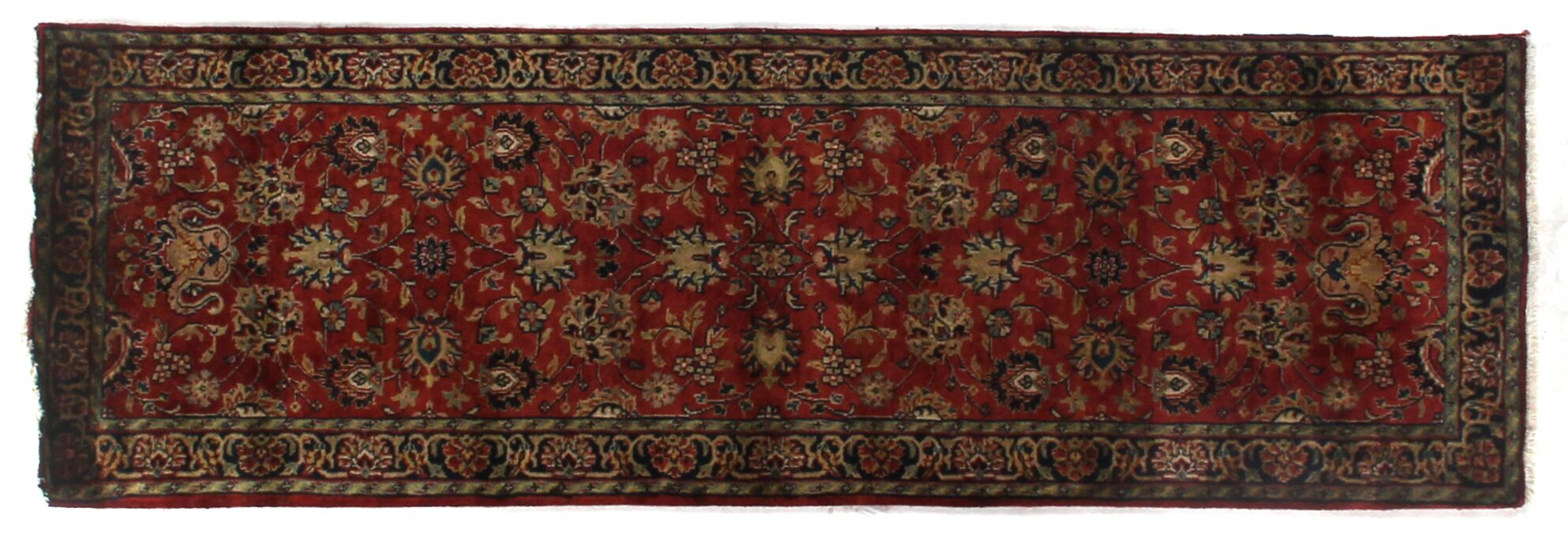 Super Mashad Hand-Knotted Wool Black/Cream Area Rug Rug Size: Runner 2'6