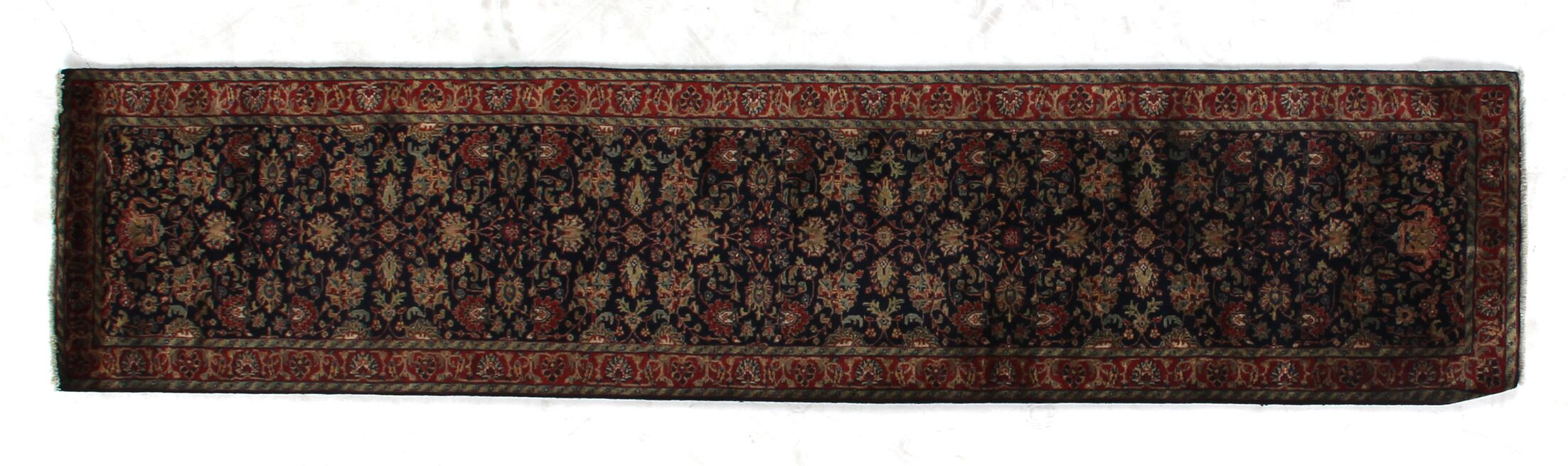 Super Mashad Hand-Knotted Wool Navy/Red Area Rug Rug Size: Runner 2'6