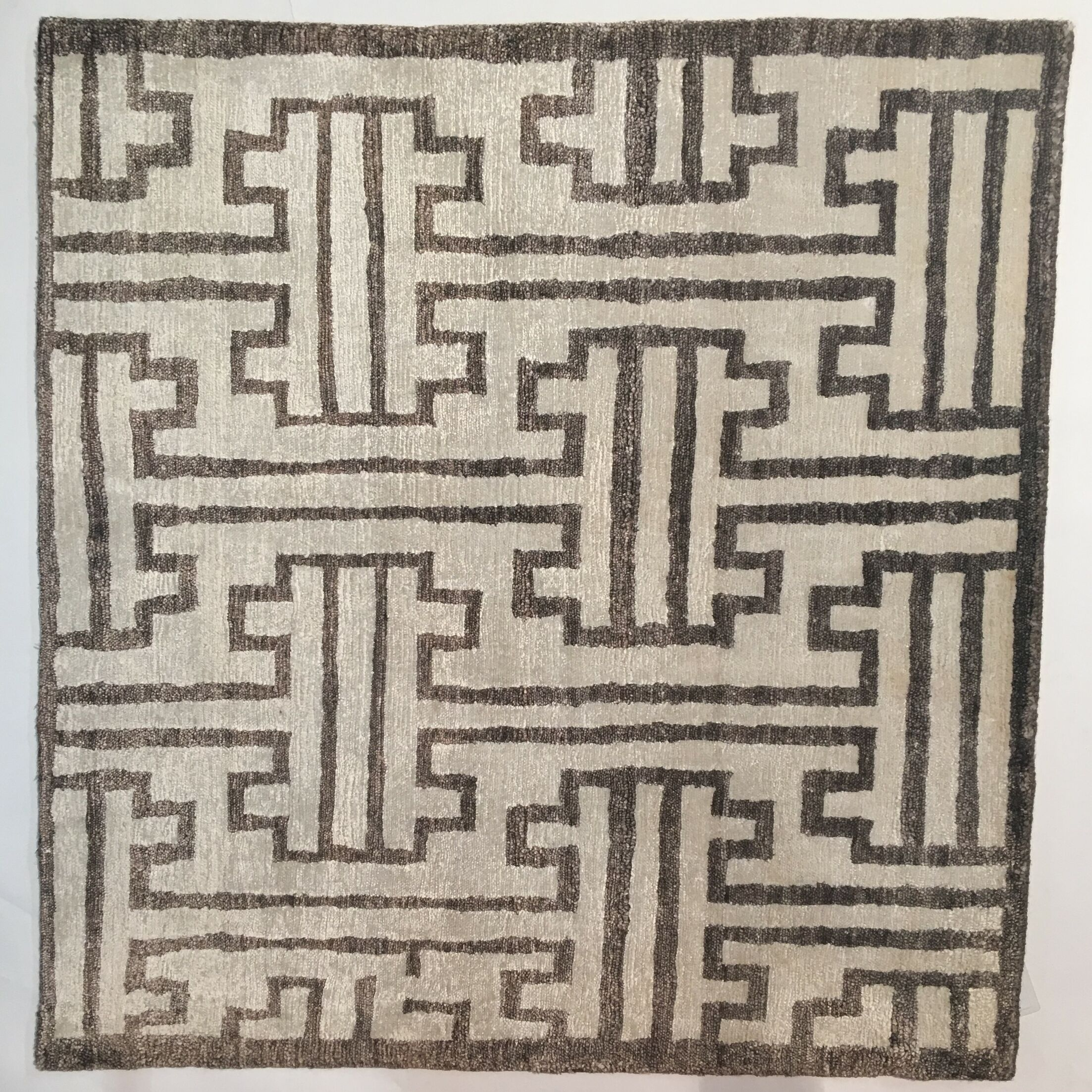 Ikat Hand-Knotted Dark Brown Area Rug Rug Size: Rectangle 6' x 9'