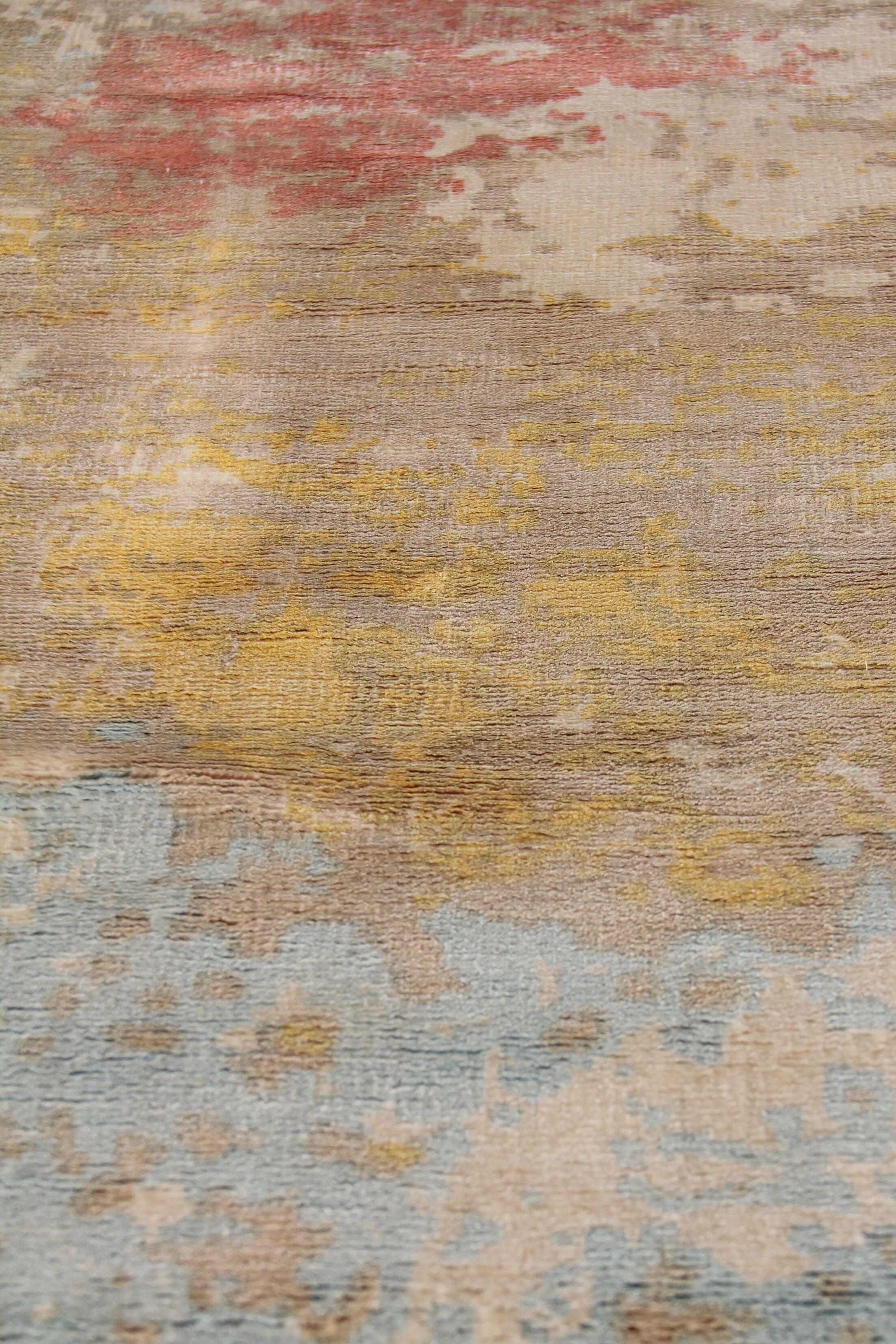 Carrera Hand Woven Silk Sky Blue/Gold Area Rug Rug Size: Rectangle 9' x 12'
