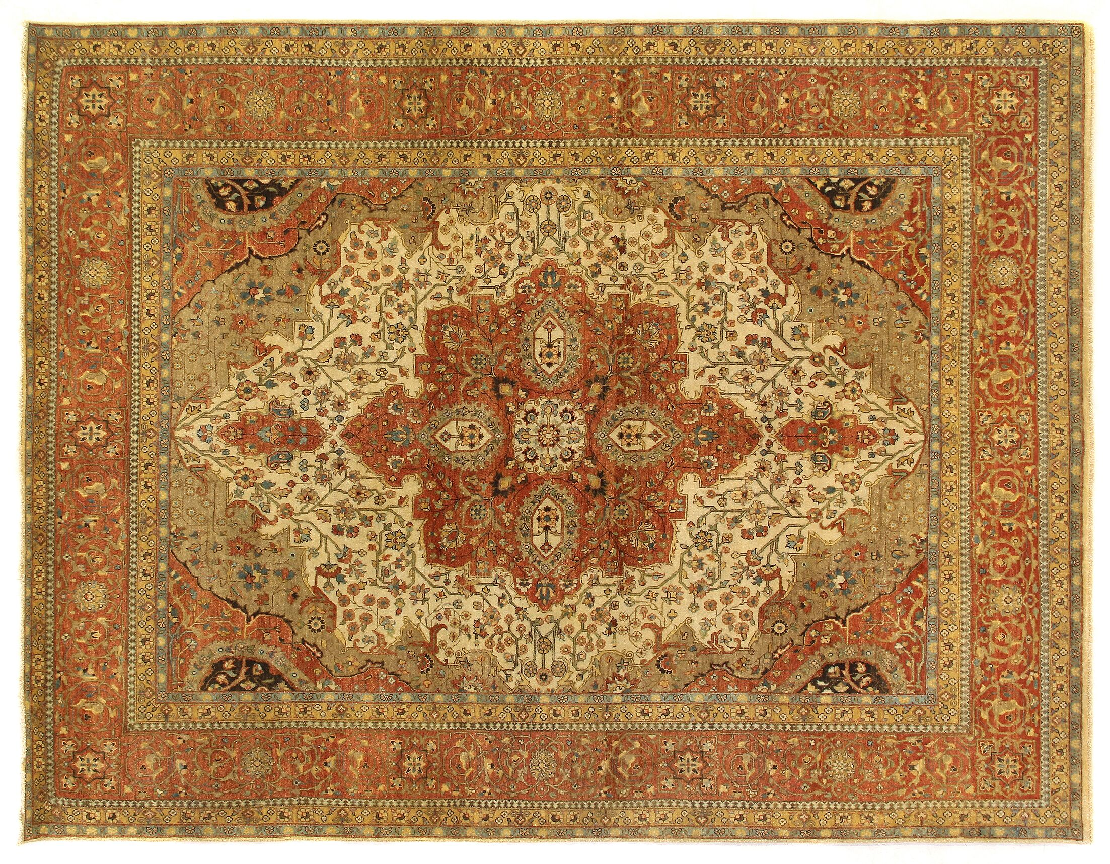 Fine Serapi Hand-Knotted Wool Ivory/Rust Area Rug Rug Size: Rectangle 14' x 18'