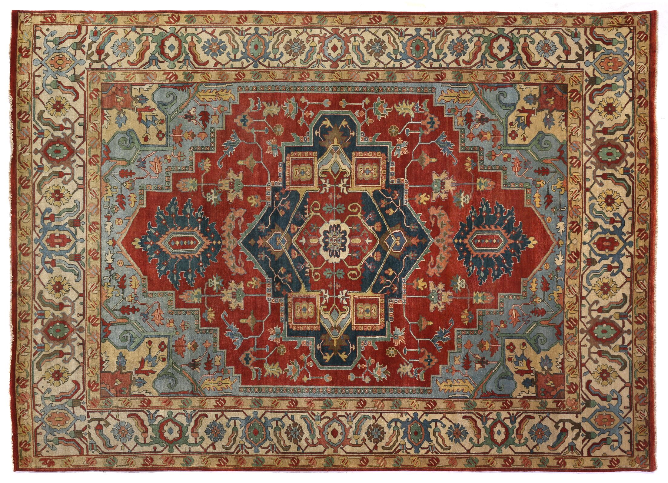 Serapi Hand-Knotted Wool Dark Red Area Rug Rug Size: Rectangle 14' x 18'