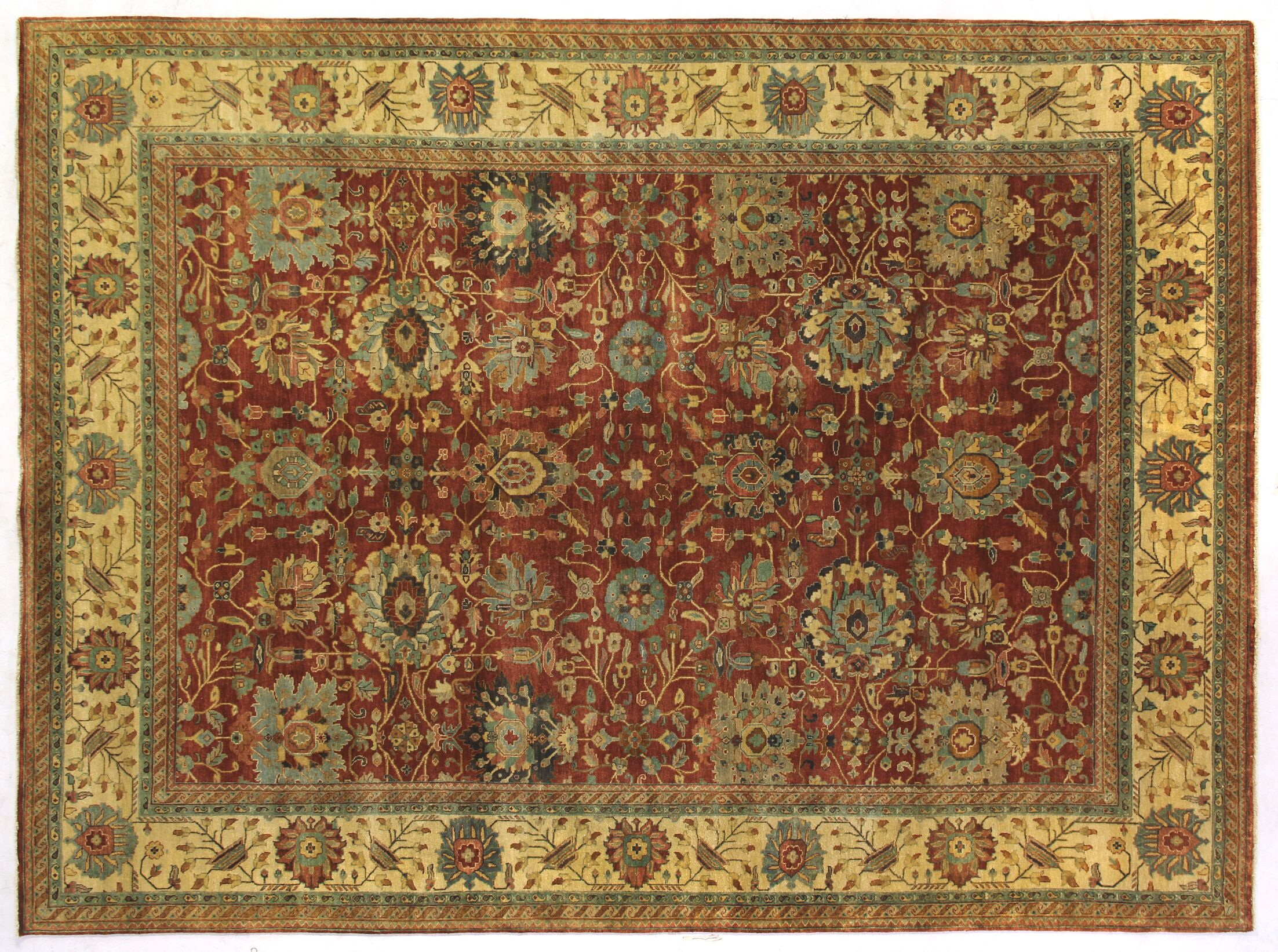 Serapi Hand-Knotted Wool Rust/Light Gold/Brown Area Rug Rug Size: Rectangle 14' x 18'