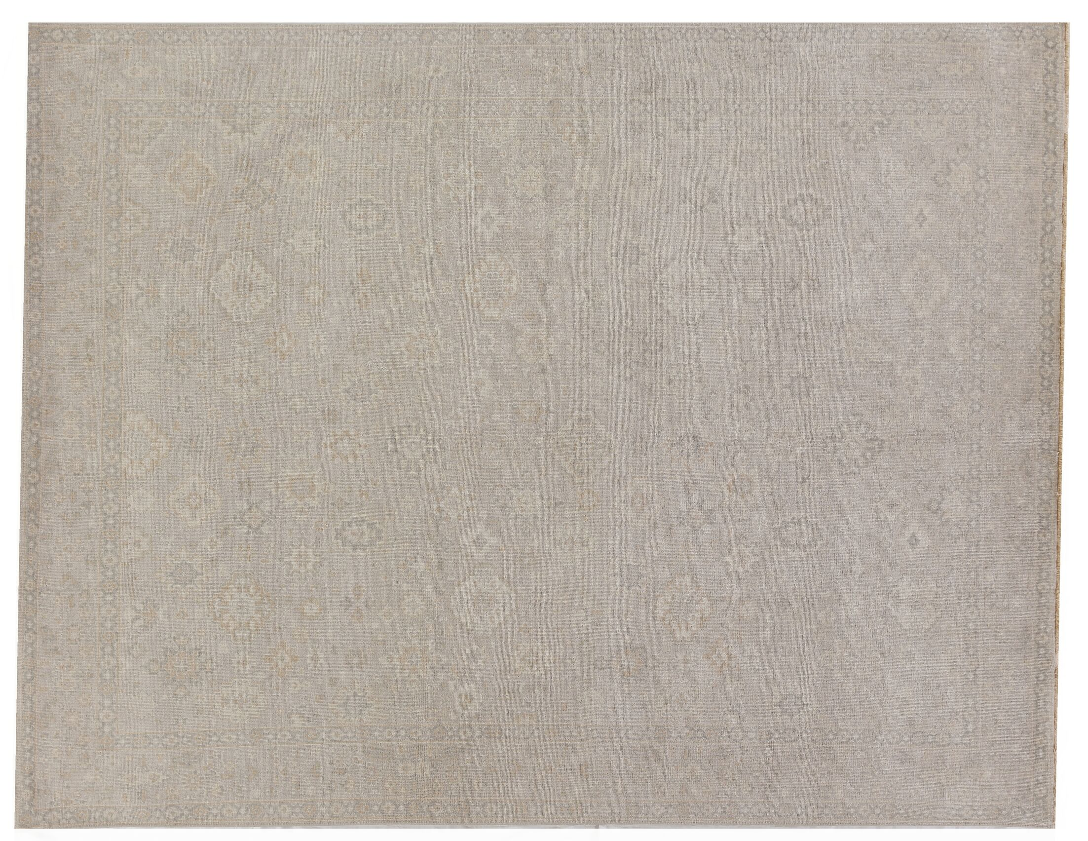 Restoration Hand-Knotted Wool Beige Area Rug Rug Size: Rectangle9' x 12'