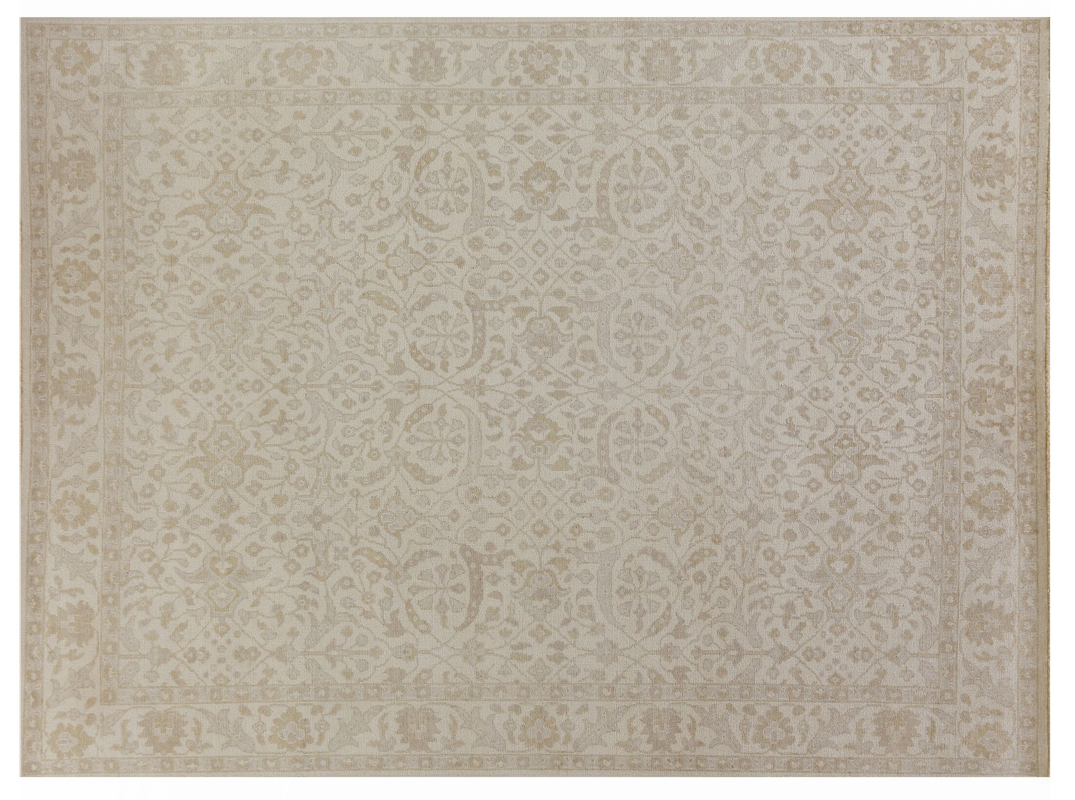 Restoration Hand-Knotted Wool Ivory Area Rug Rug Size: Rectangle6' x 9'