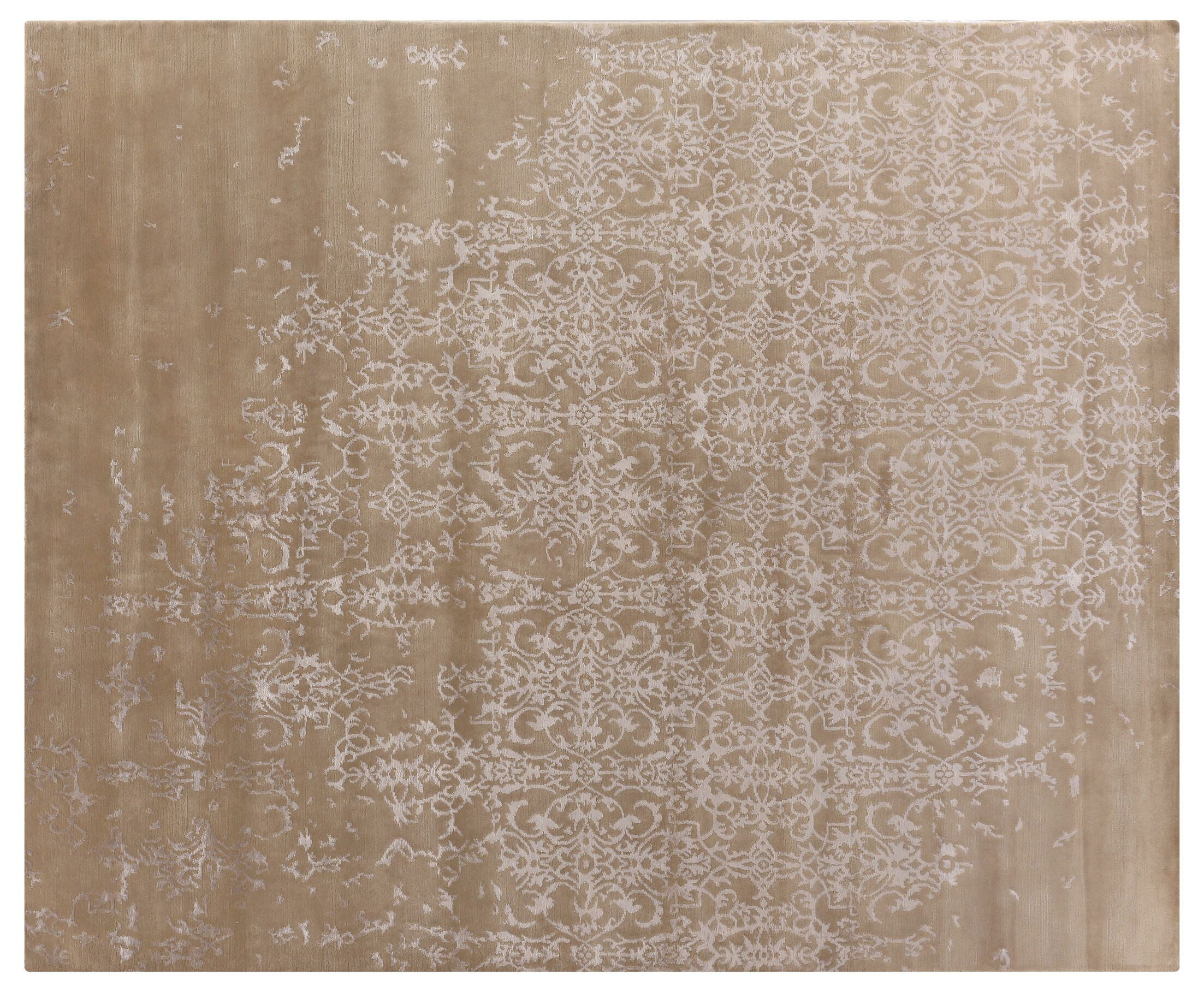 Fine Hand-Knotted Light Beige Area Rug