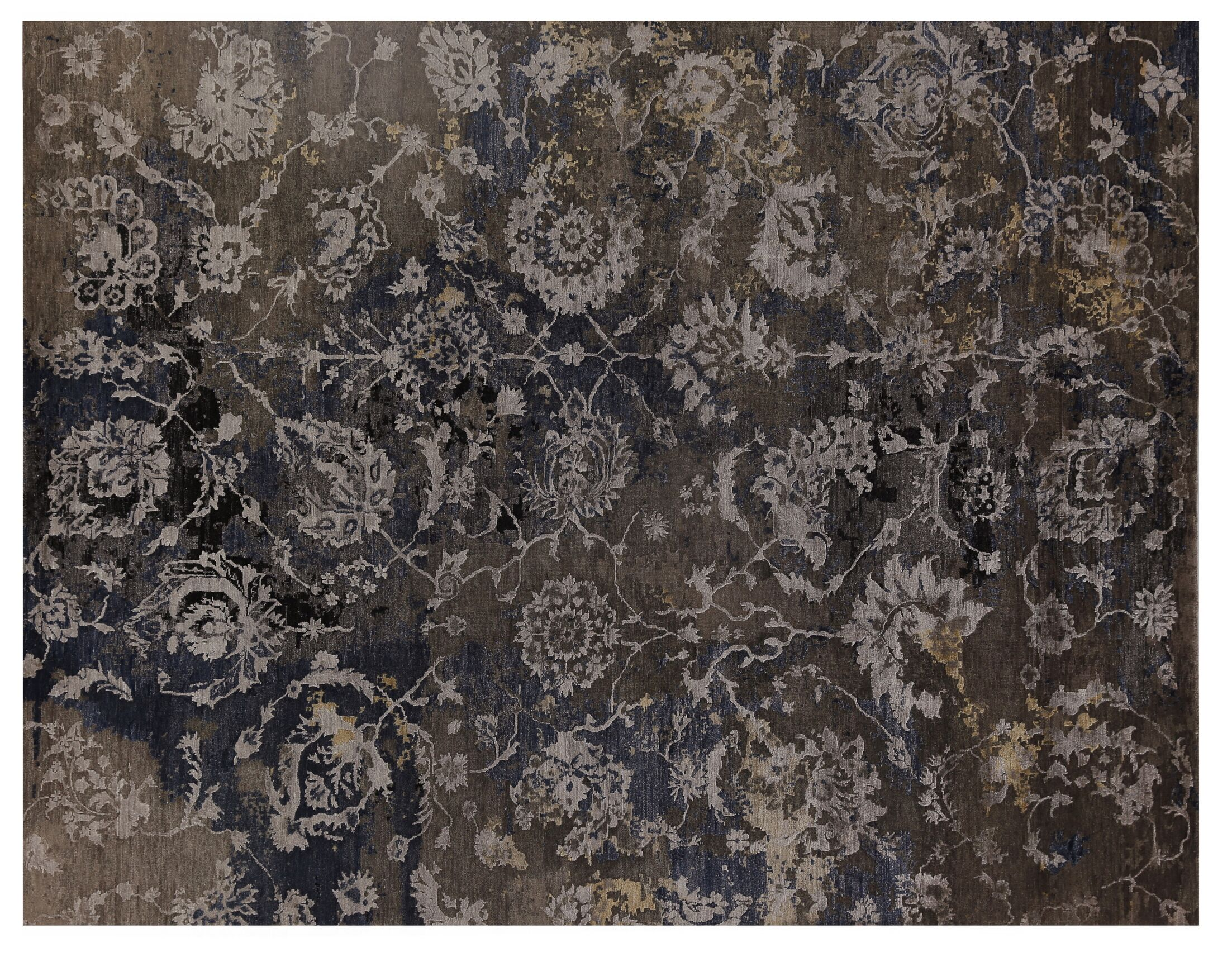 Hundley Hand-Knotted Brown/Blue Area Rug Rug Size: Rectangle8' x 10'