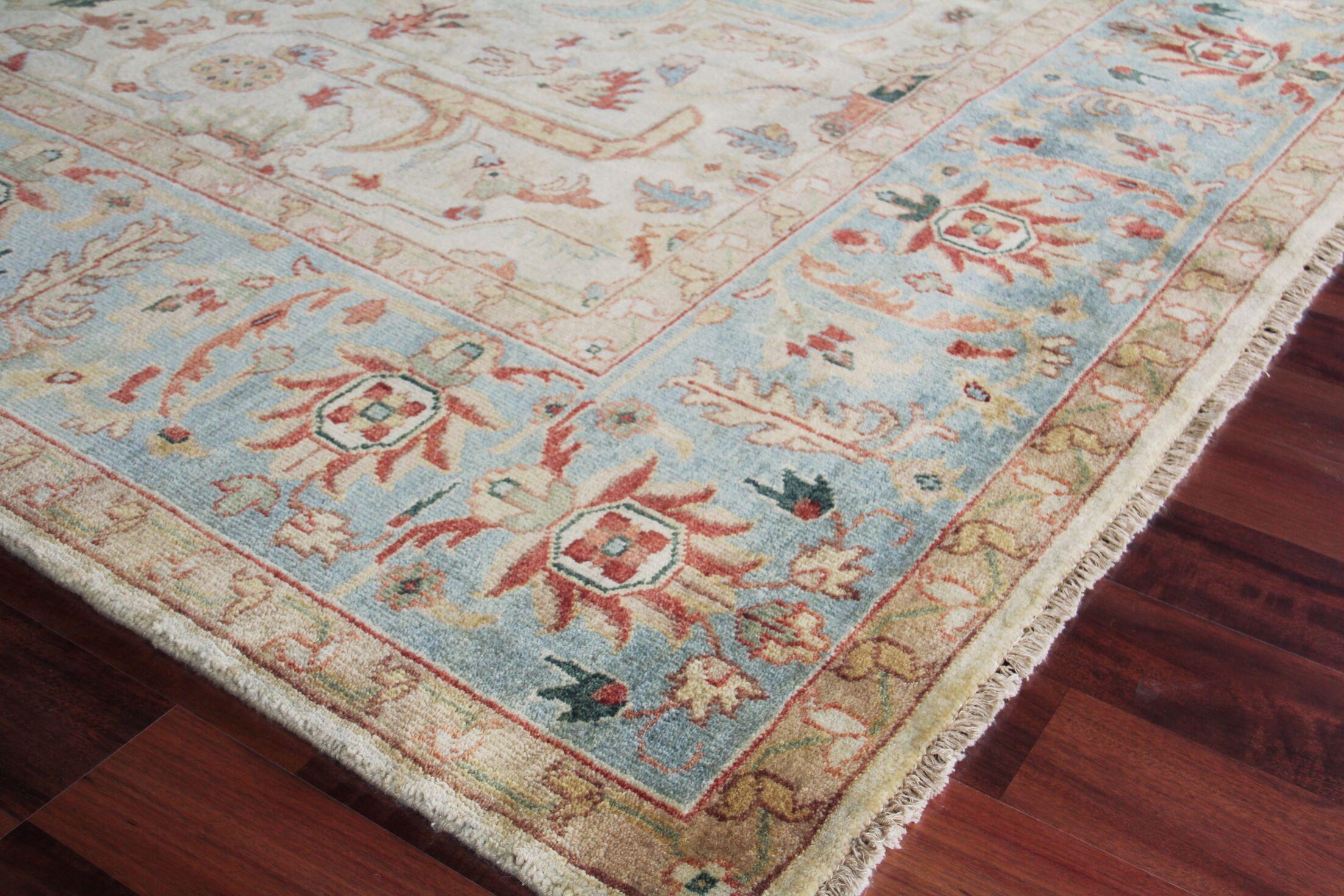 Serapi Hand-Knotted Wool Ivory/Light Blue Area Rug Rug Size: Rectangle 8' x 10'