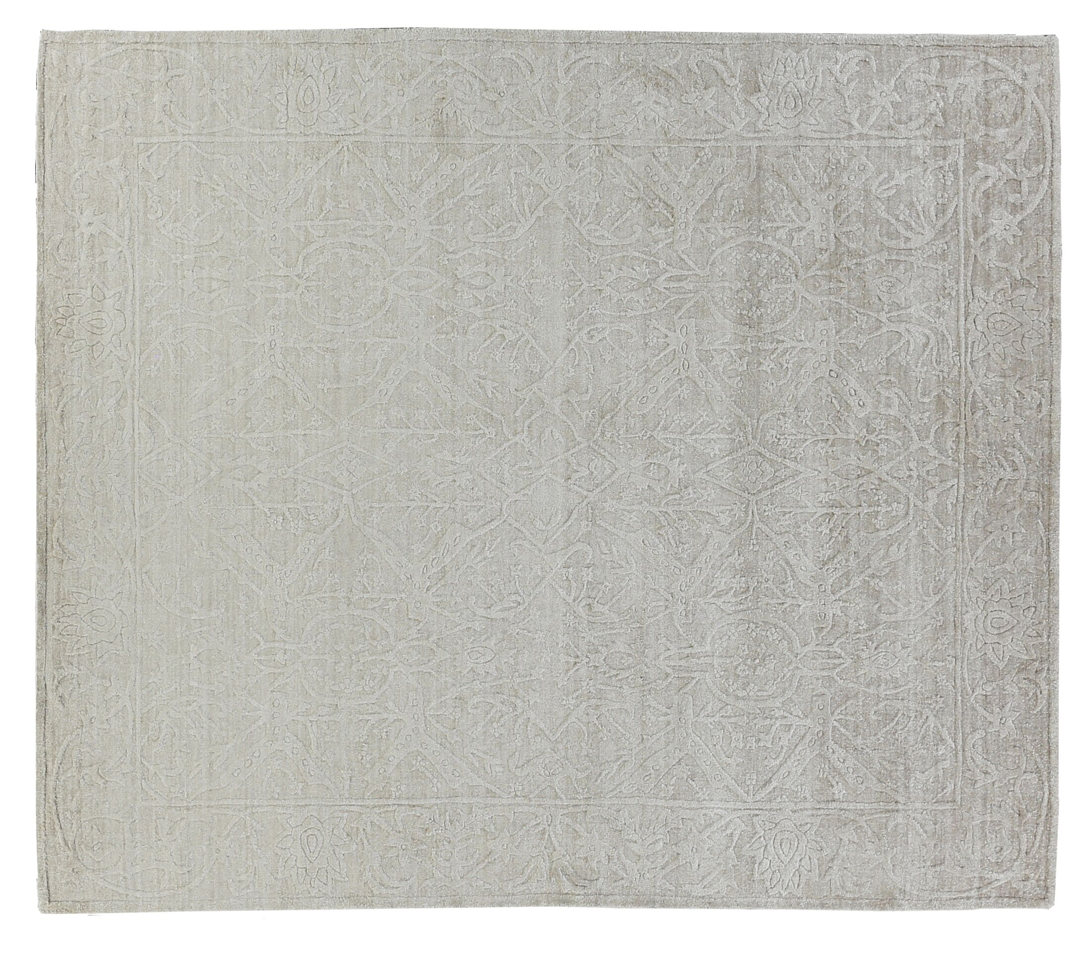 Iris Hand-Knotted Silver Area Rug Rug Size: Rectangle9' x 12'