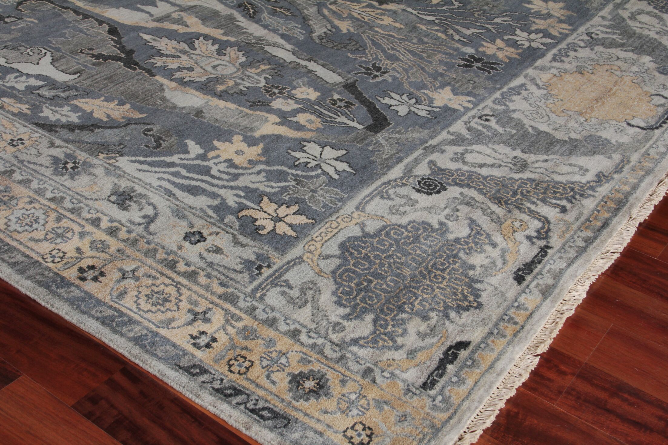Jurassic Hand-Knotted Wool Gray/Beige Area Rug Rug Size: Rectangle9' x 12'