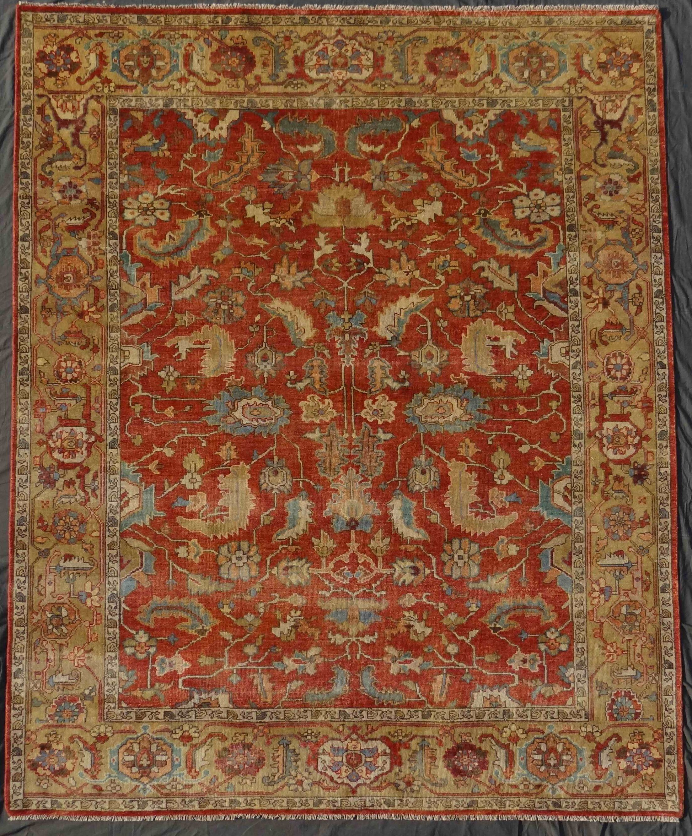 Serapi Hand-Knotted Wool Red/Beige Area Rug Rug Size: Rectangle 12' x 15'