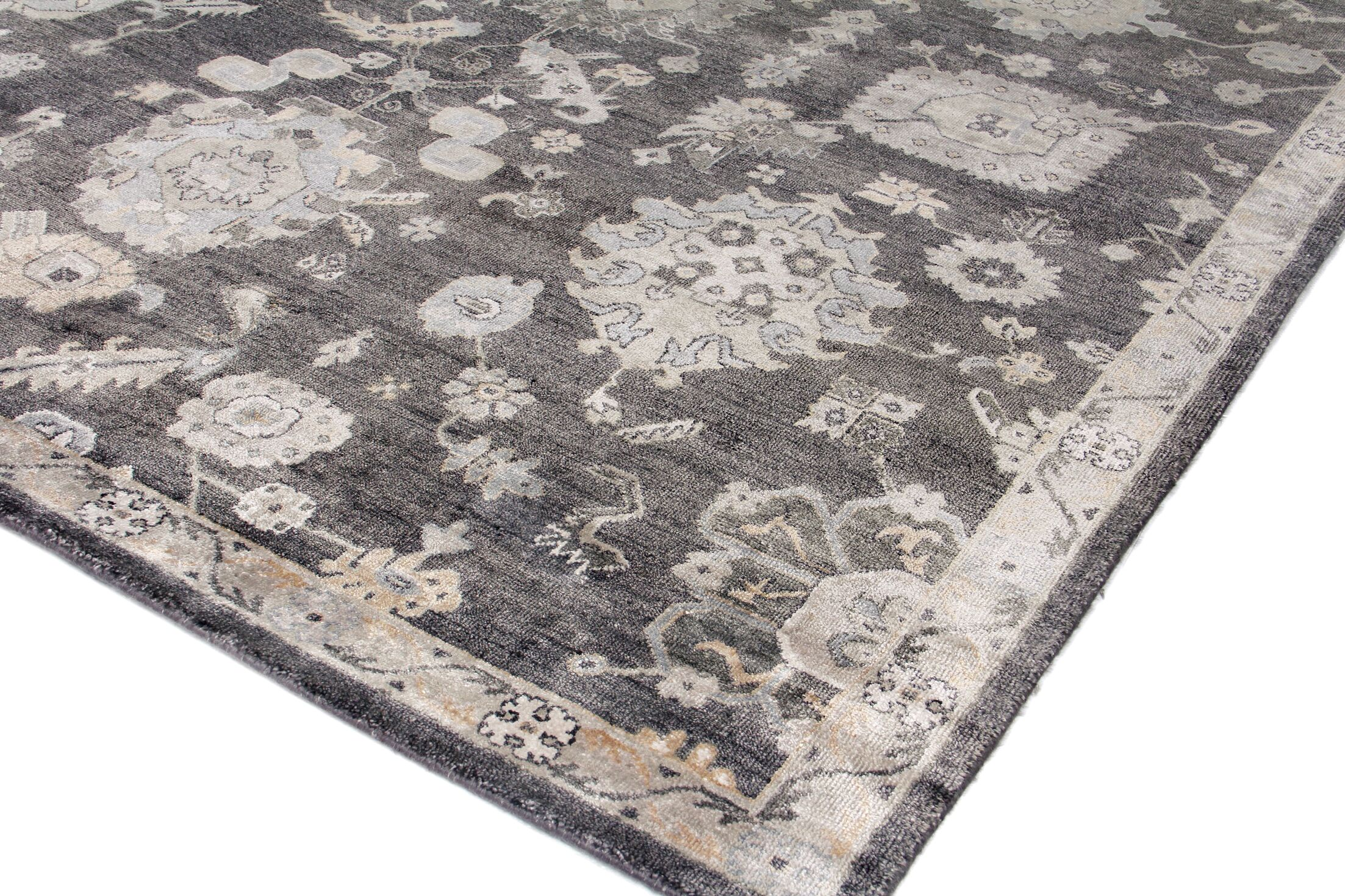 Museum Hand-Knotted Silk Midnight Blue Area Rug Rug Size: Rectangle 8' x 10'