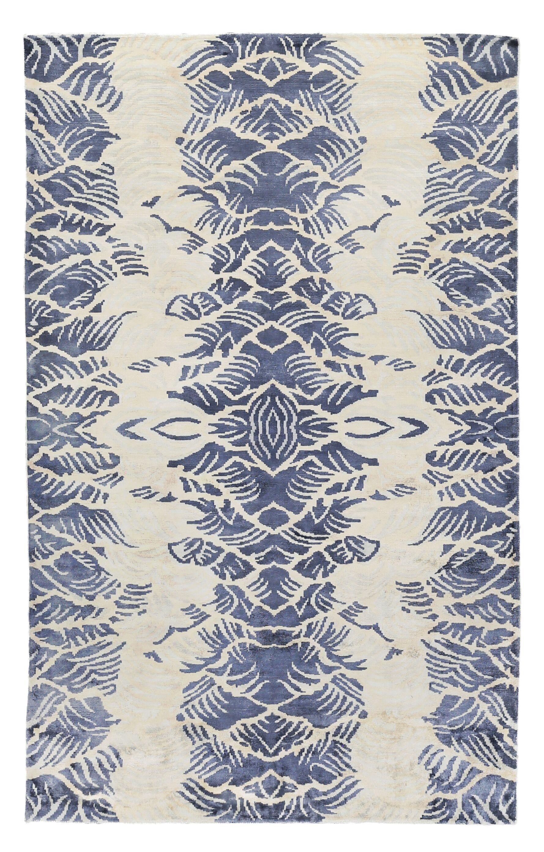 Koda Hand-Woven Ivory/Blue Area Rug Rug Size: Rectangle 6' x 9'