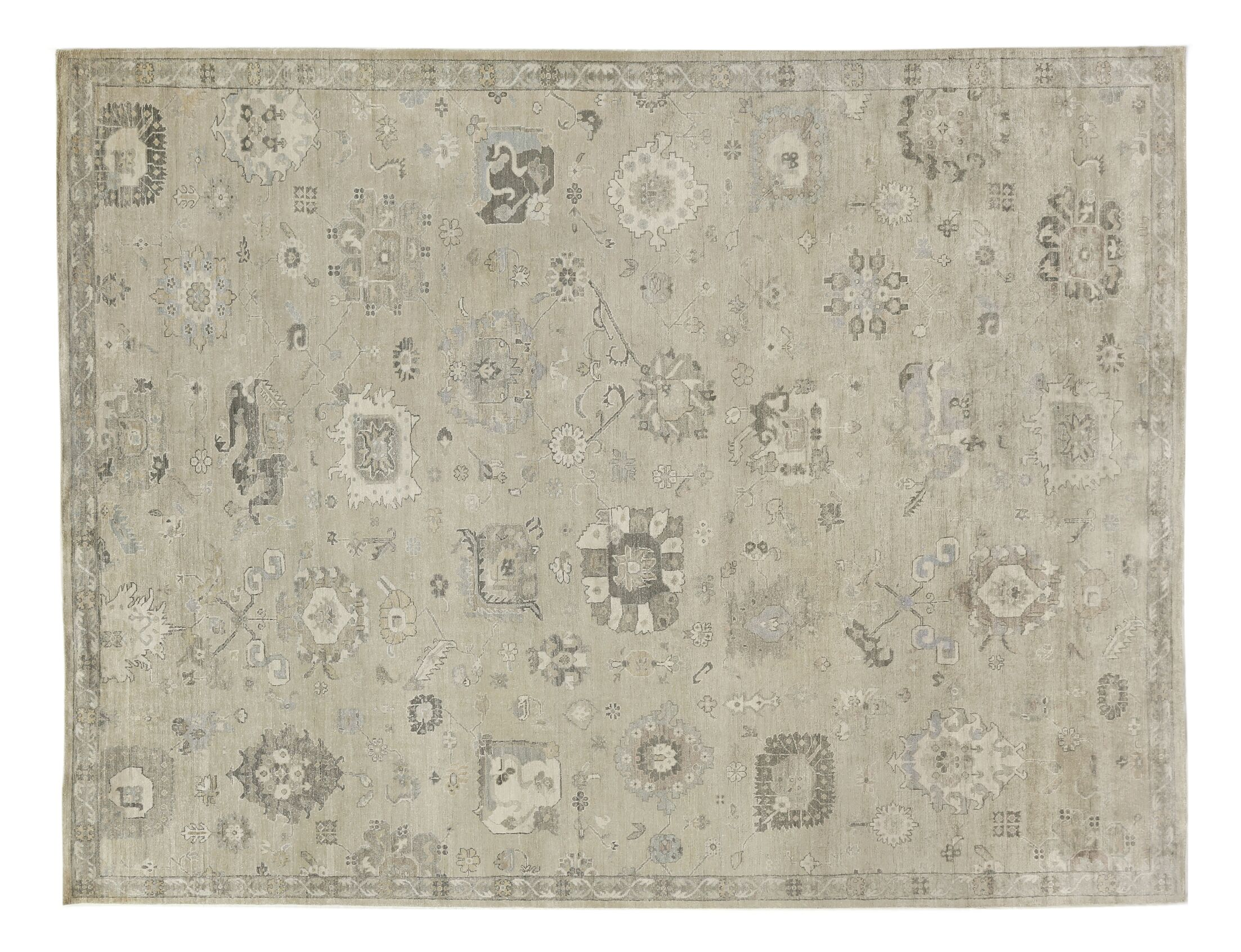 Museum Hand-Knotted Beige Area Rug Rug Size: Rectangle 12' x 15'